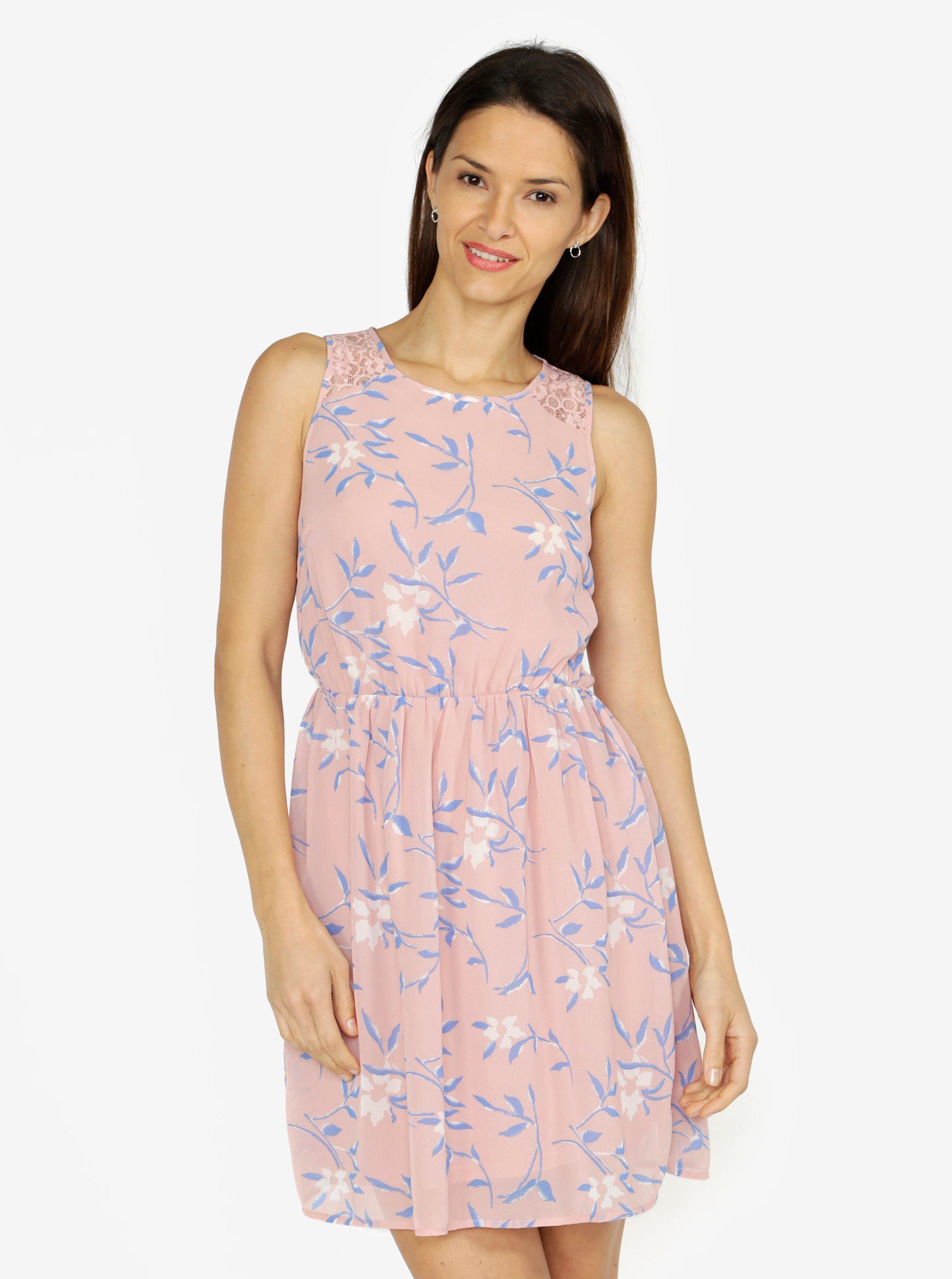 Starorůžové květované šaty s krajkovými detaily VERO MODA Shea 262c8ea016