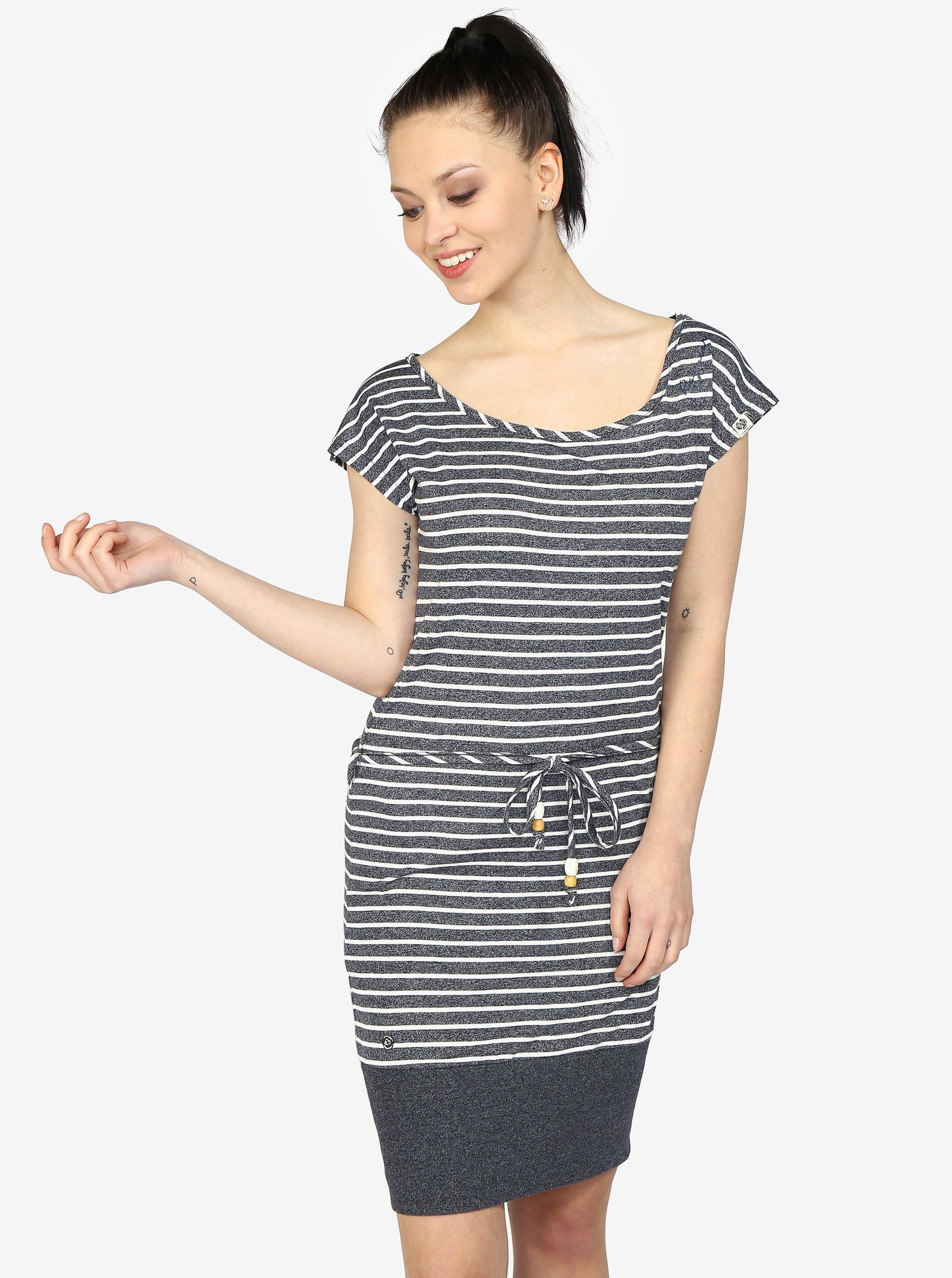 1e78bcd41001 Tmavomodré pruhované melírované šaty Ragwear Soho Stripes