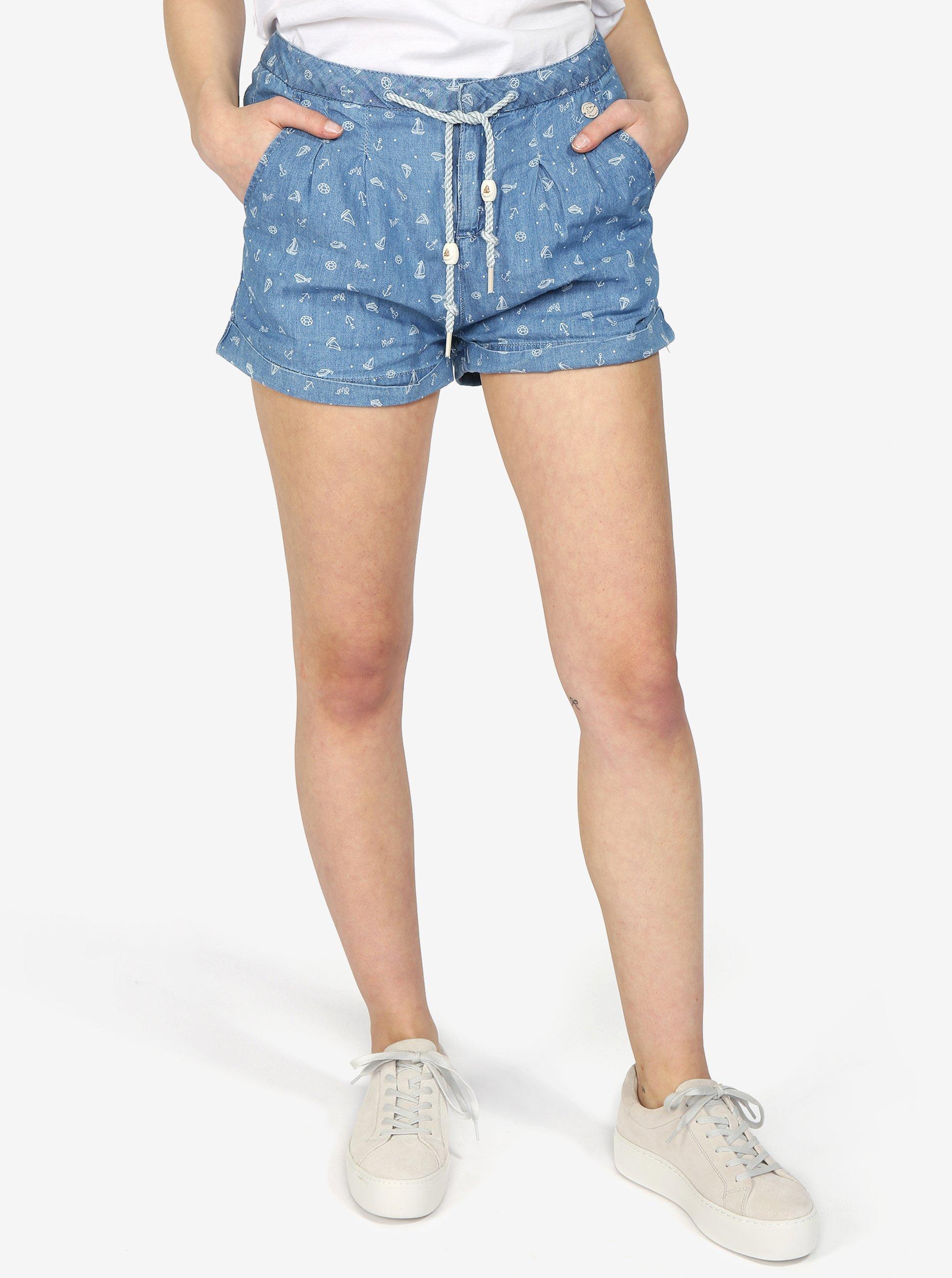 Světle modré dámské džínové kraťasy s potiskem Ragwear bb080d051c