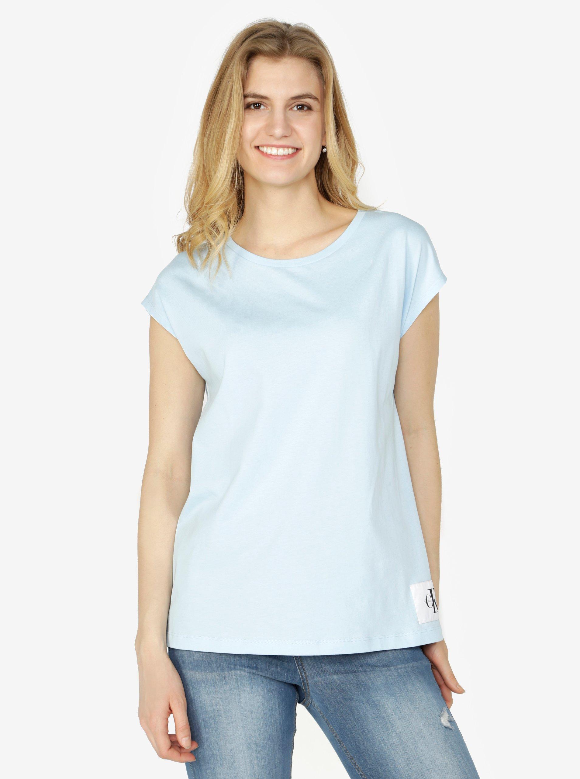 90aaaea1124 Světle modré dámské basic tričko tričko bez rukávů Calvin Klein Jeans Tika