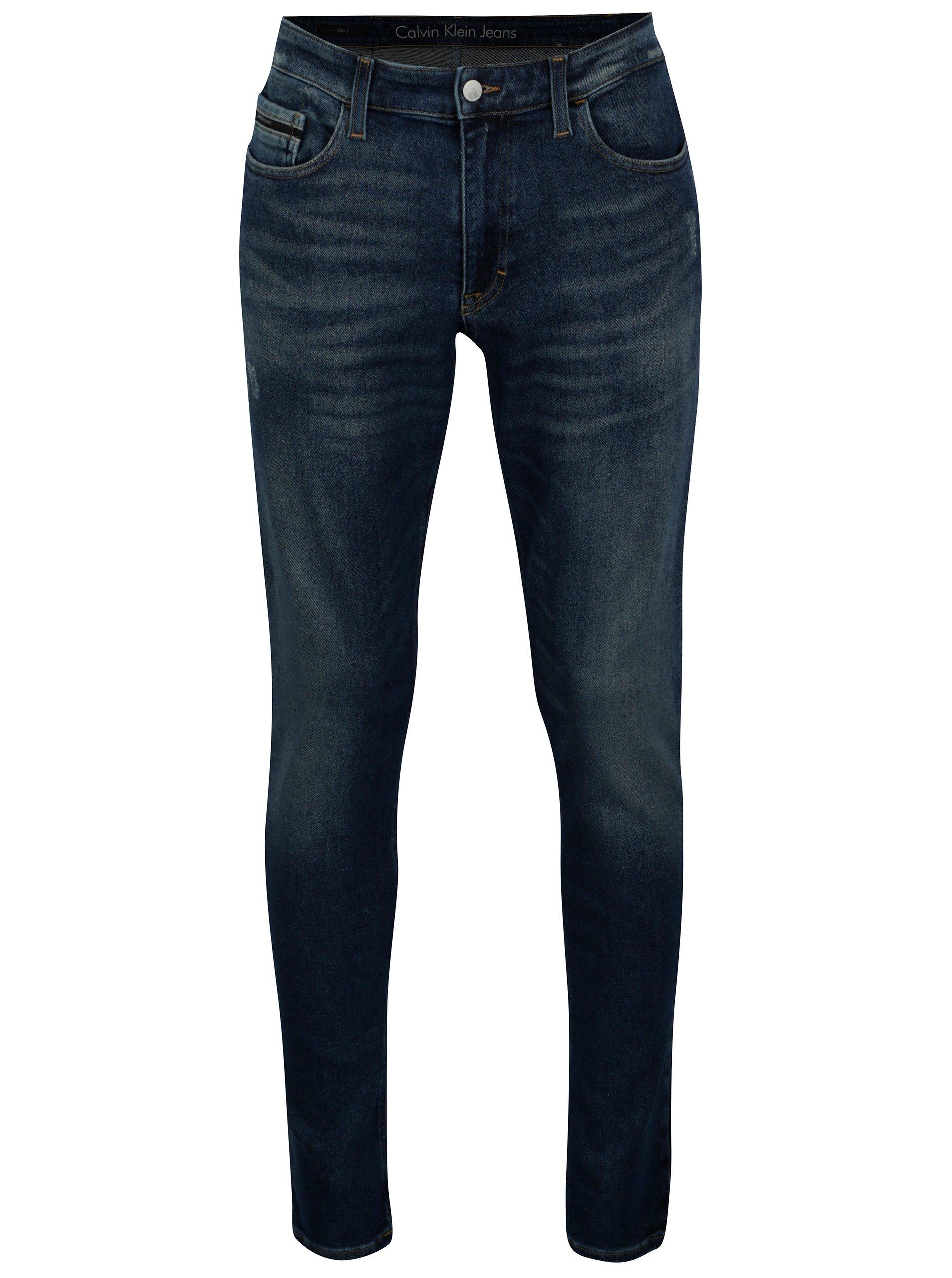 Tmavě modré pánské skinny džíny s vyšisovaným efektem Calvin Klein Jeans