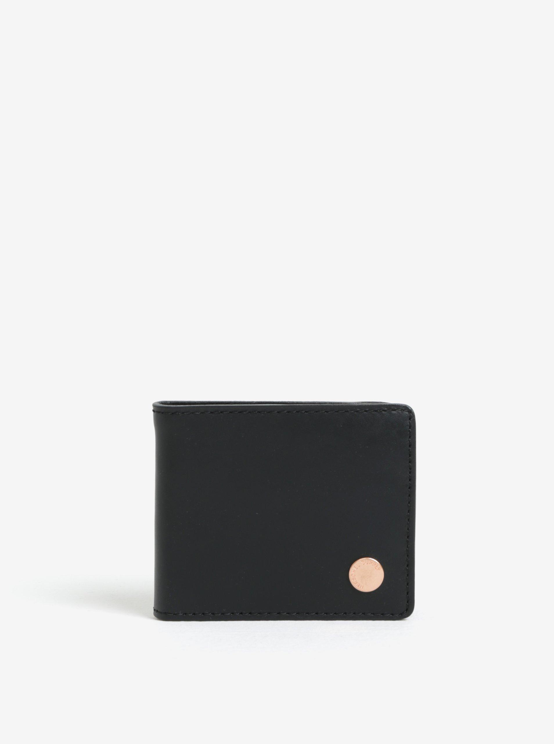 Čierna pánska kožená peňaženka Herschel Supply Vincent