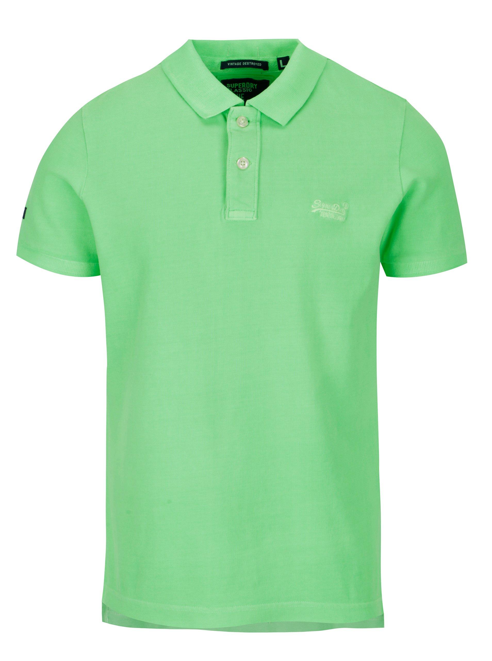 a1c3c4966dc1 Neonově zelené pánské polo tričko Superdry