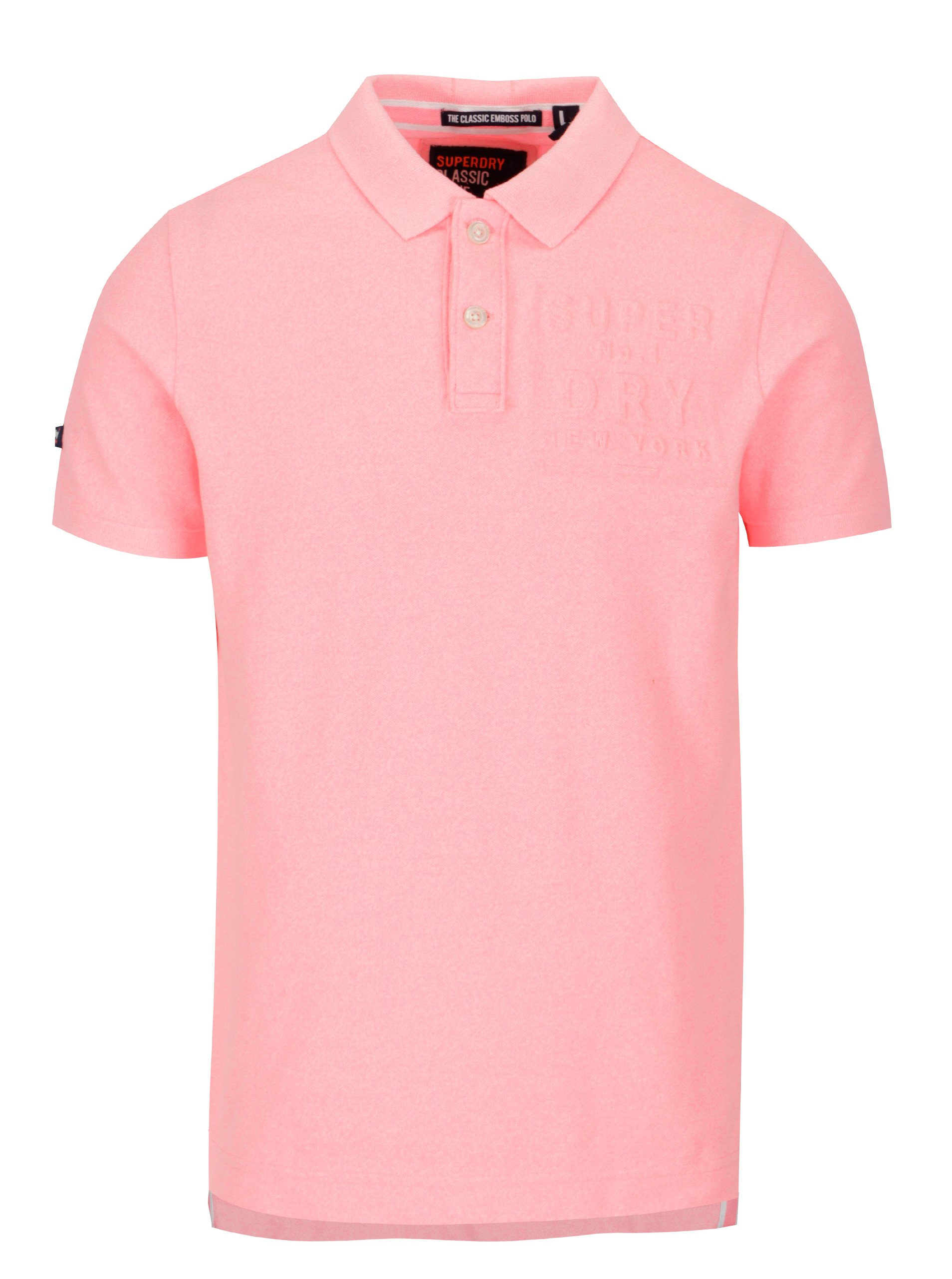fa0bafa533dc Neonově růžové pánské polo tričko Superdry