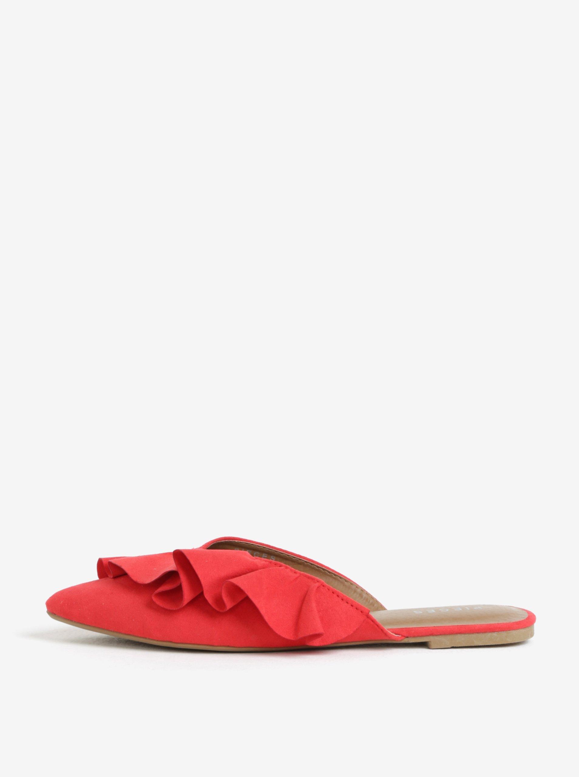 červené pantofle  Pieces Donelle