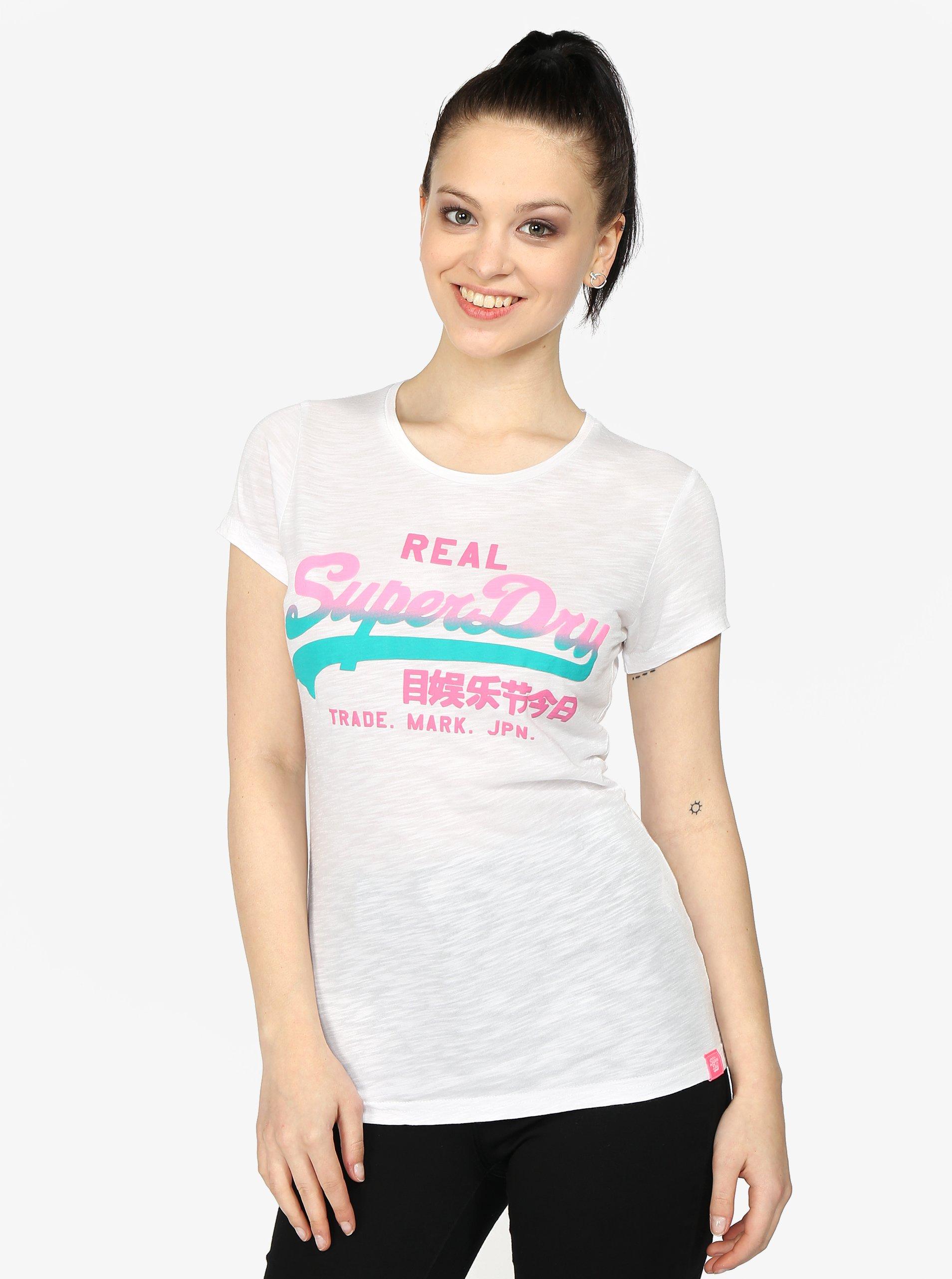 Bílé dámské tričko s barevným potiskem Superdry 465d79c60e