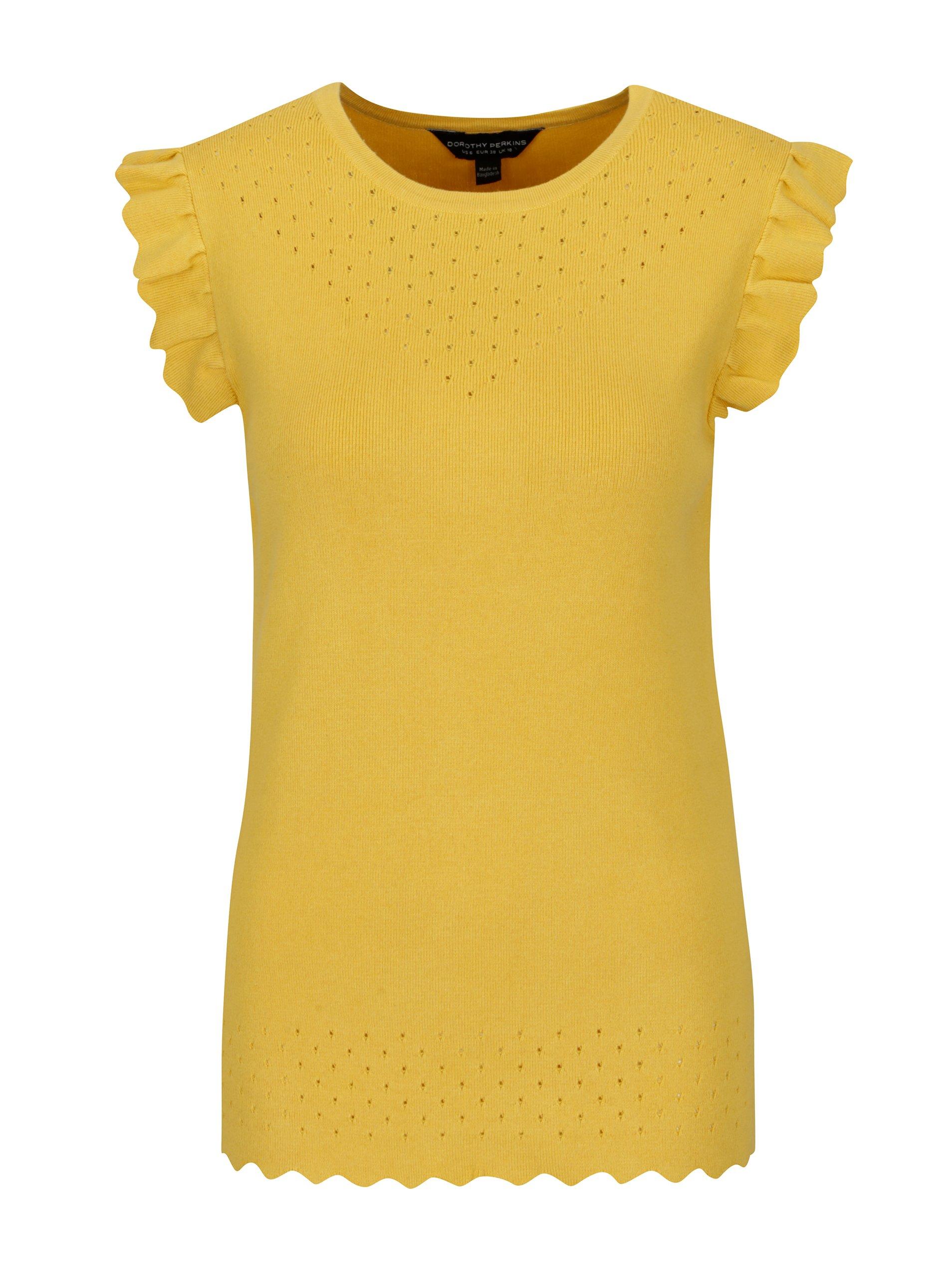Žlutý svetrový top s volány Dorothy Perkins