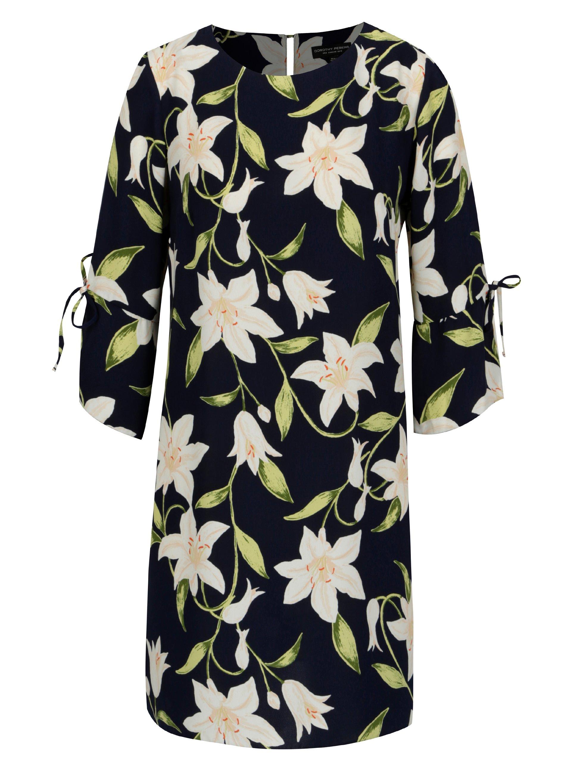Tmavě modré květované šaty s 3 4 rukávem Dorothy Perkins 8c4a027a4dc