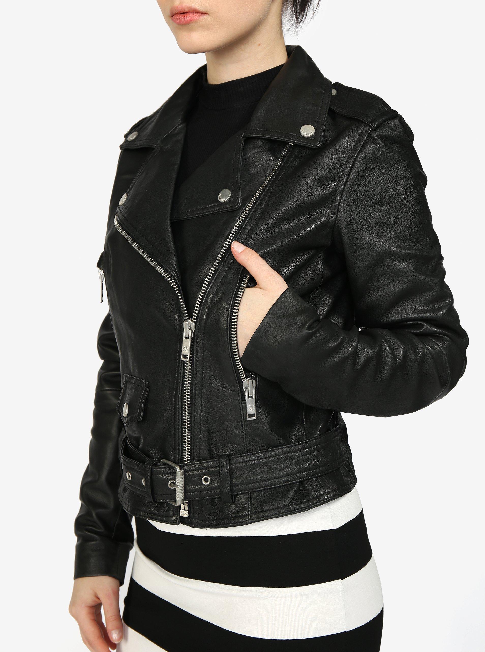 Černý dámský kožený křivák Superdry