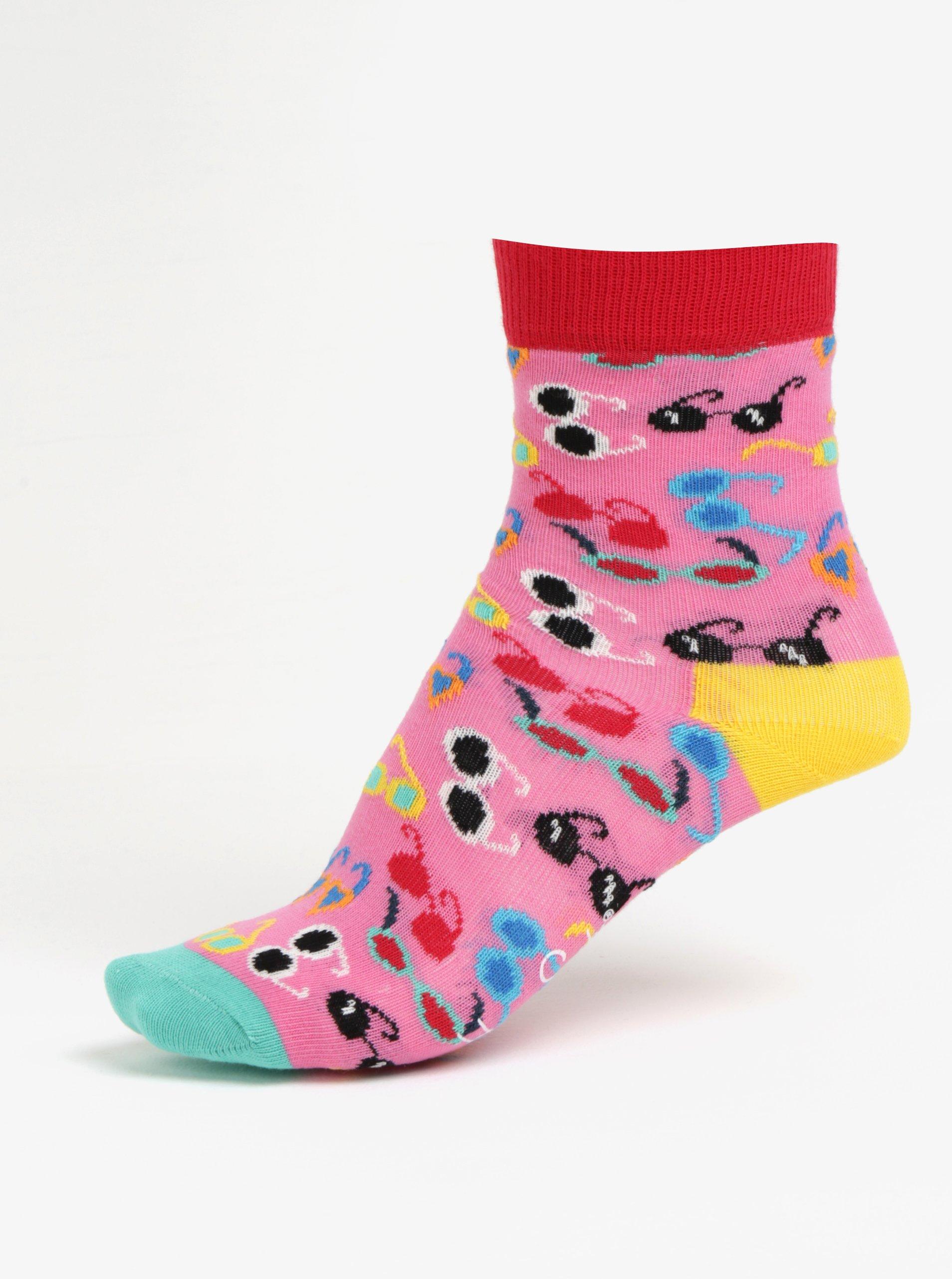 Fotografie Růžové dětské ponožky s motivem brýlí Happy Socks Shades