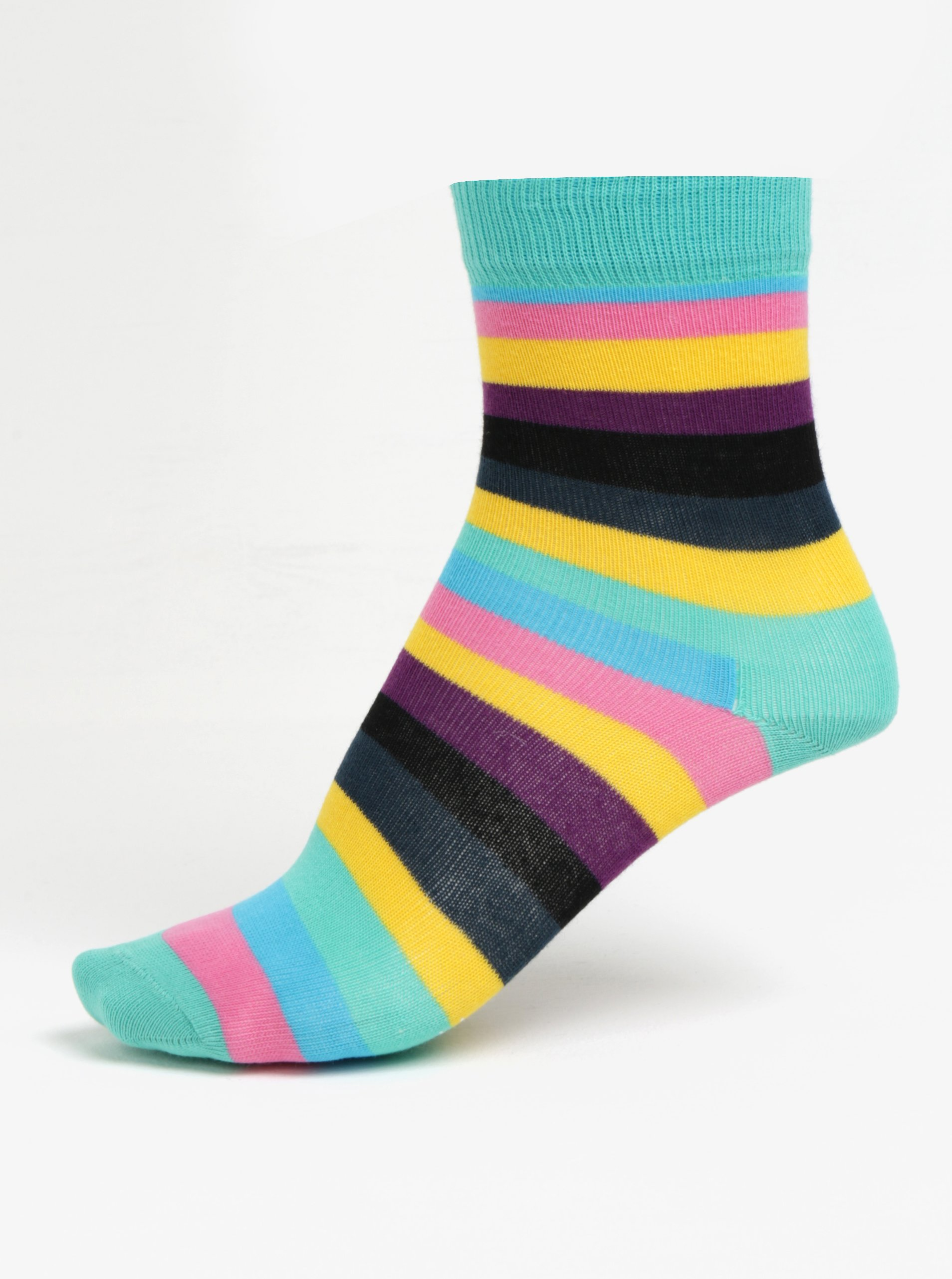 Fotografie Růžovo-zelené dětské pruhované ponožky Happy Socks Stripe
