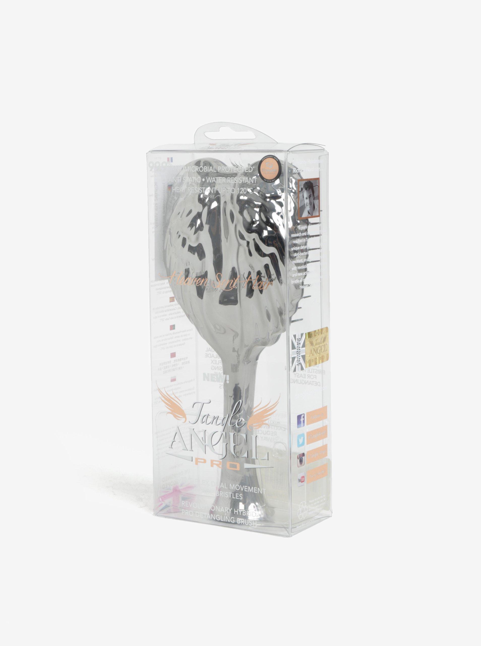 Hřeben ve stříbrné barvě ve tvaru andělských křídel Tangle Angel