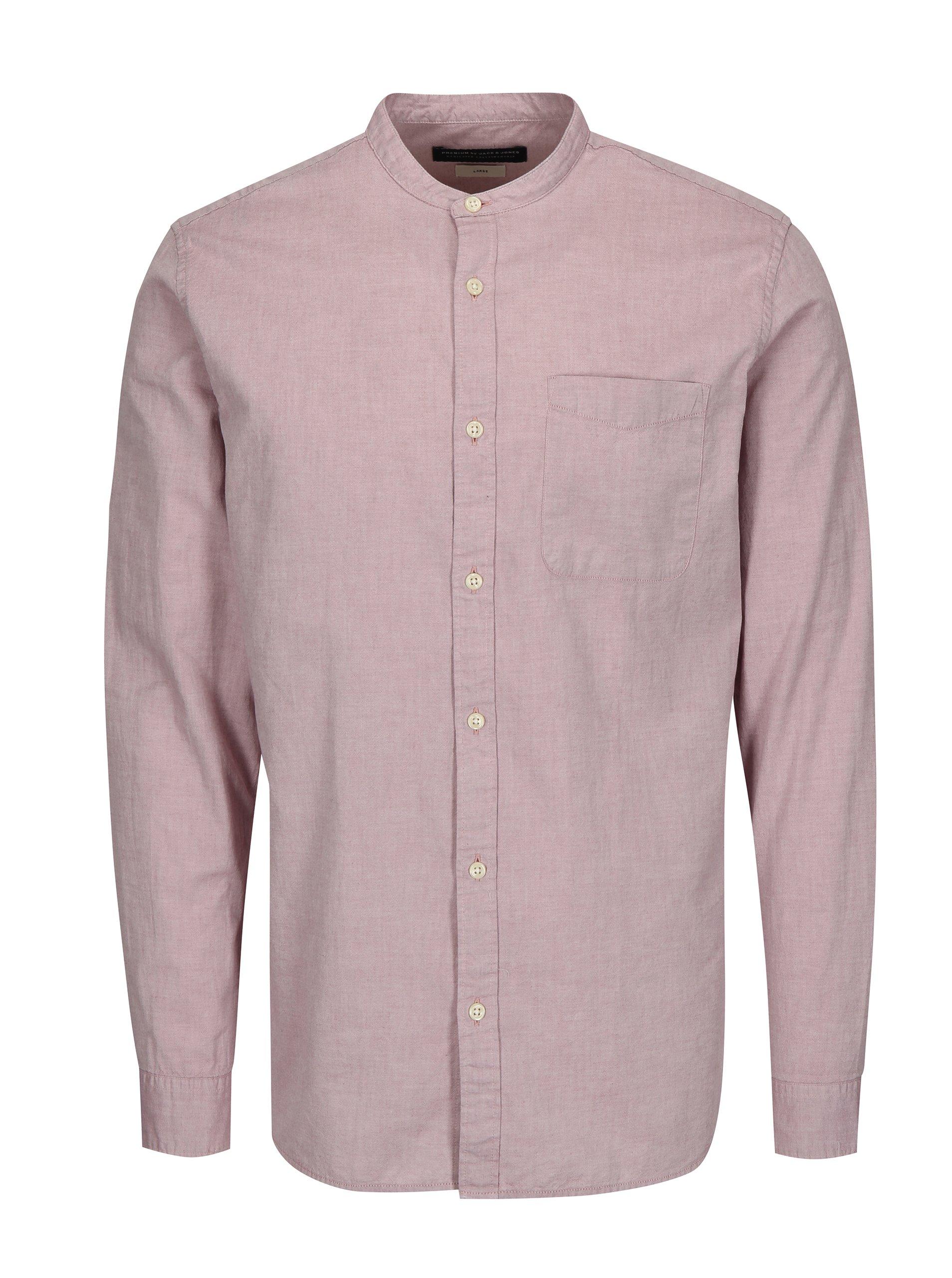 Světle růžová slim fit košile Jack & Jones Kevin
