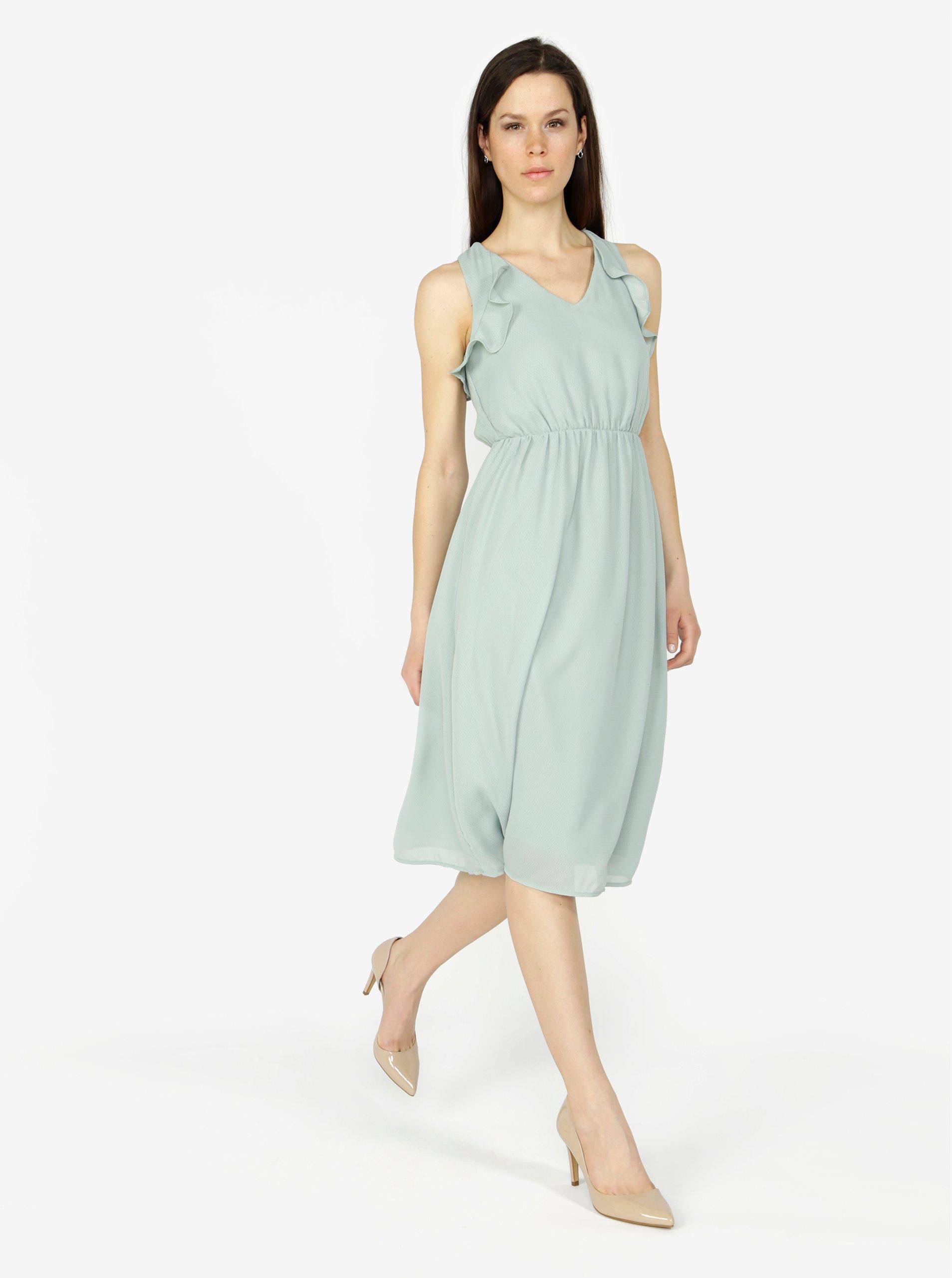 5d6af2617f5 Mentolové šaty s volány VERO MODA Iris