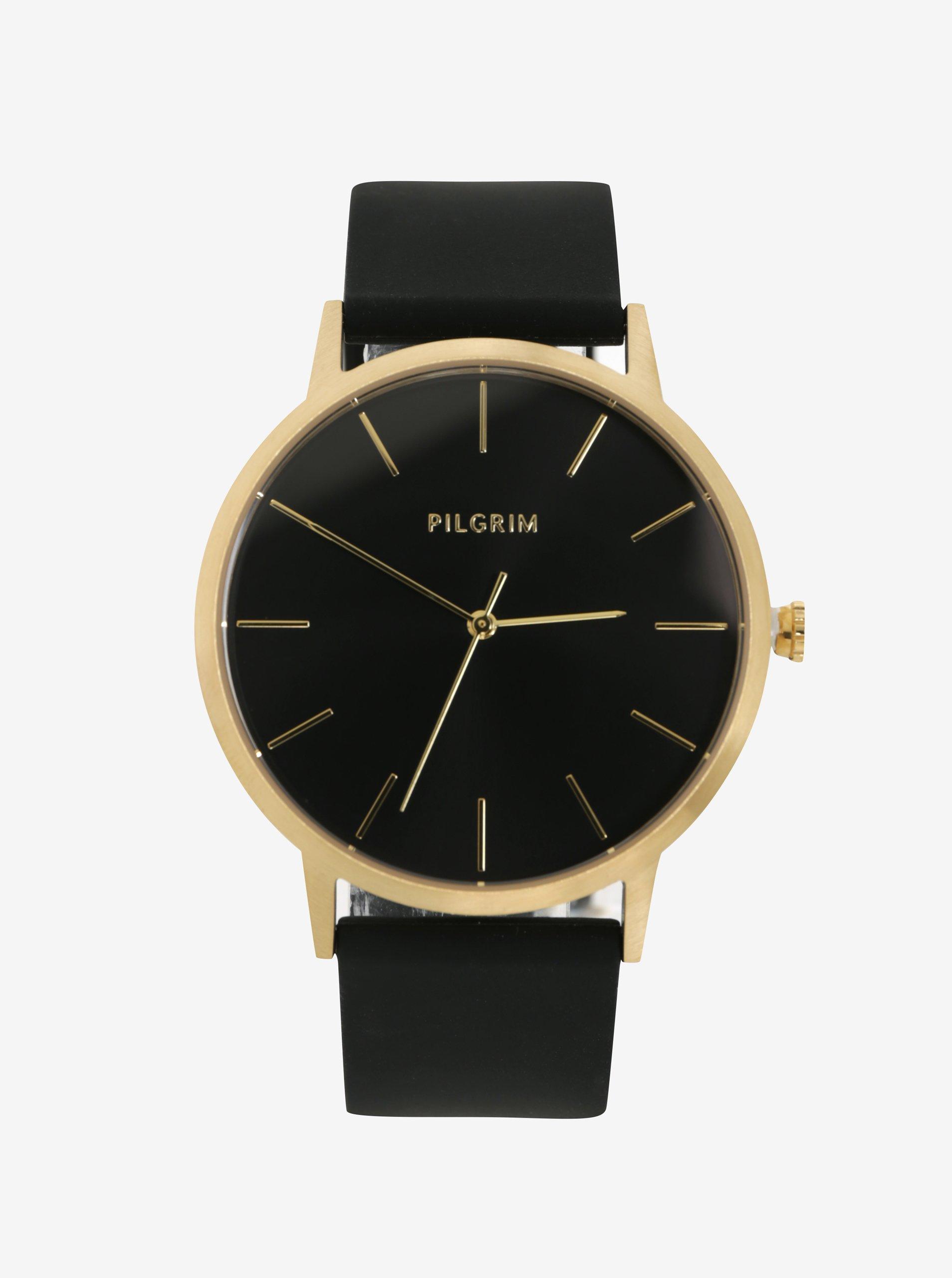 Pozlacené hodinky s černým silikonovým páskem Pilgrim