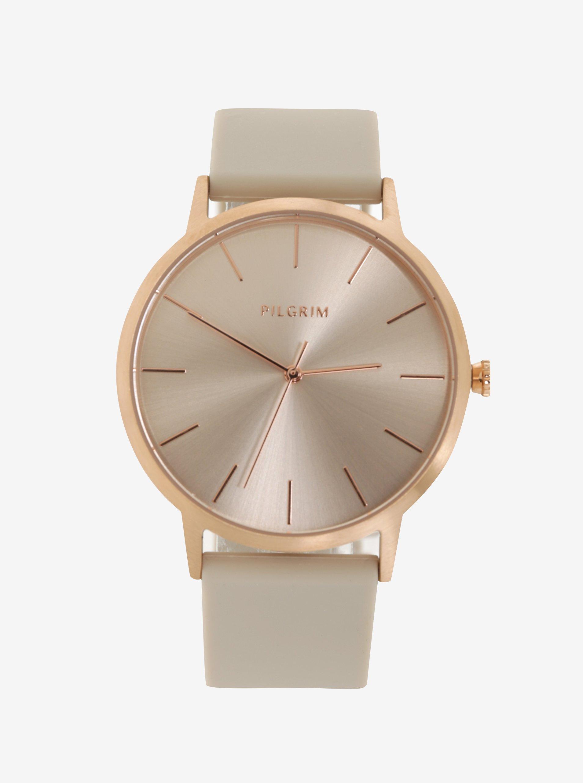 b4b5054f7 Pozlátené hodinky v ružovozlatej farbe so sivým silikónovým remienkom  Pilgrim