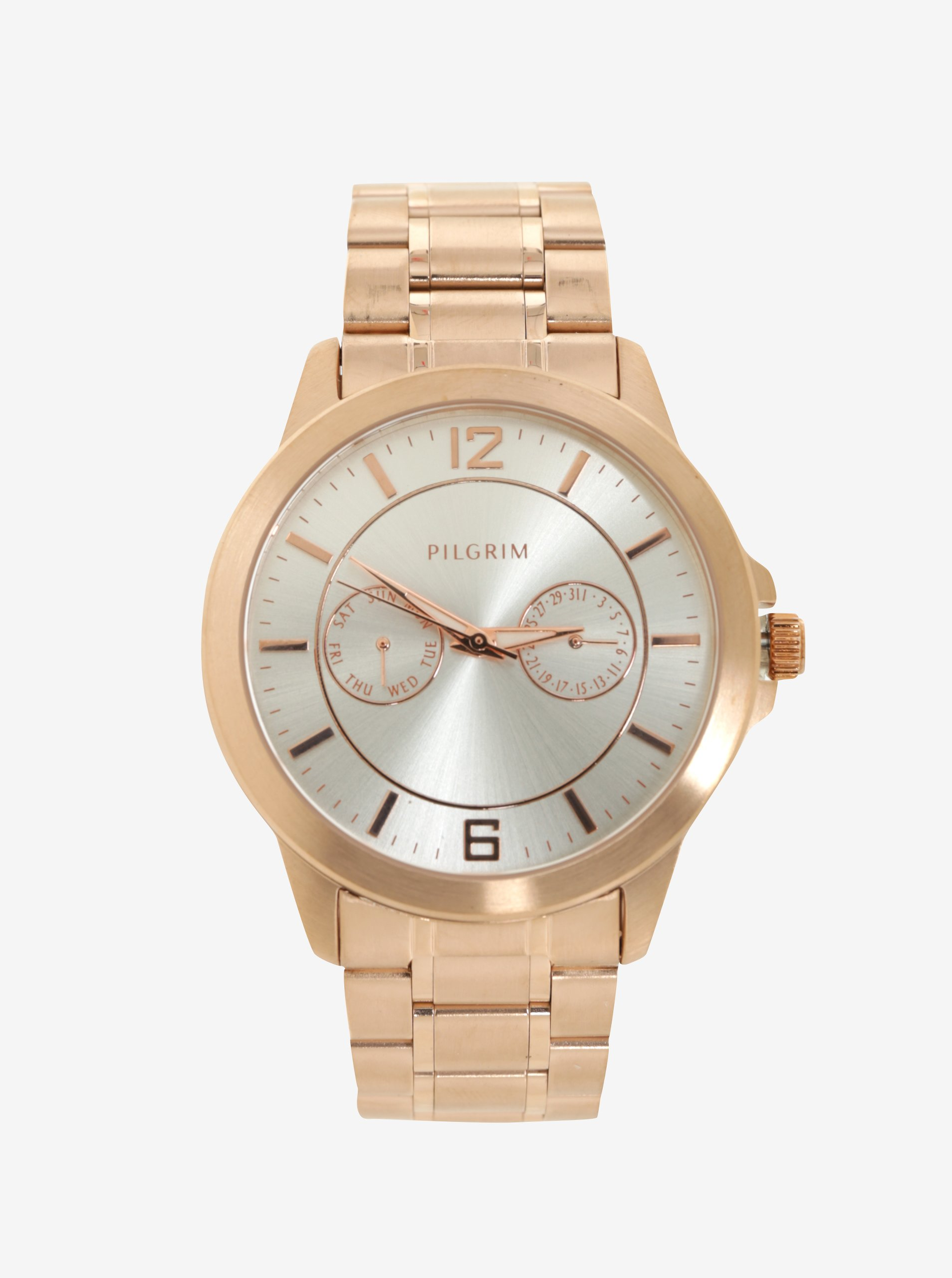 9b0c6536f Pozlátené hodinky v ružovozlatej farbe s kovovým remienkom Pilgrim