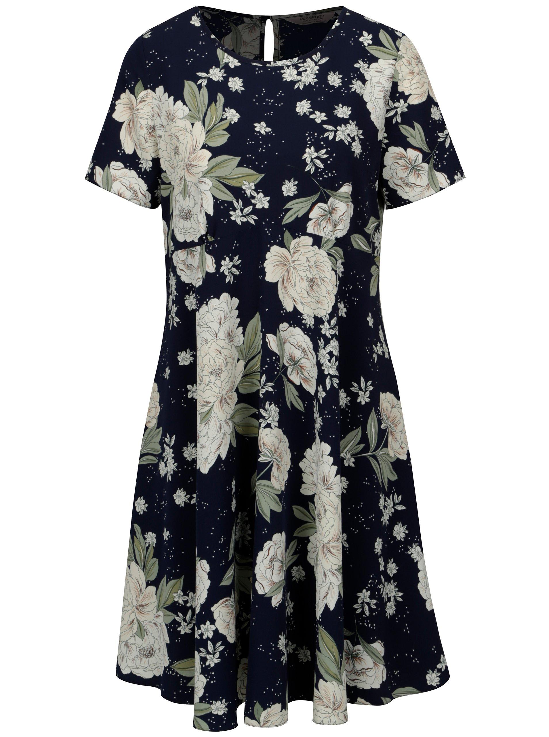 Modro-biele kvetované tehotenské šaty Dorothy Perkins Maternity f499ac5ef1b