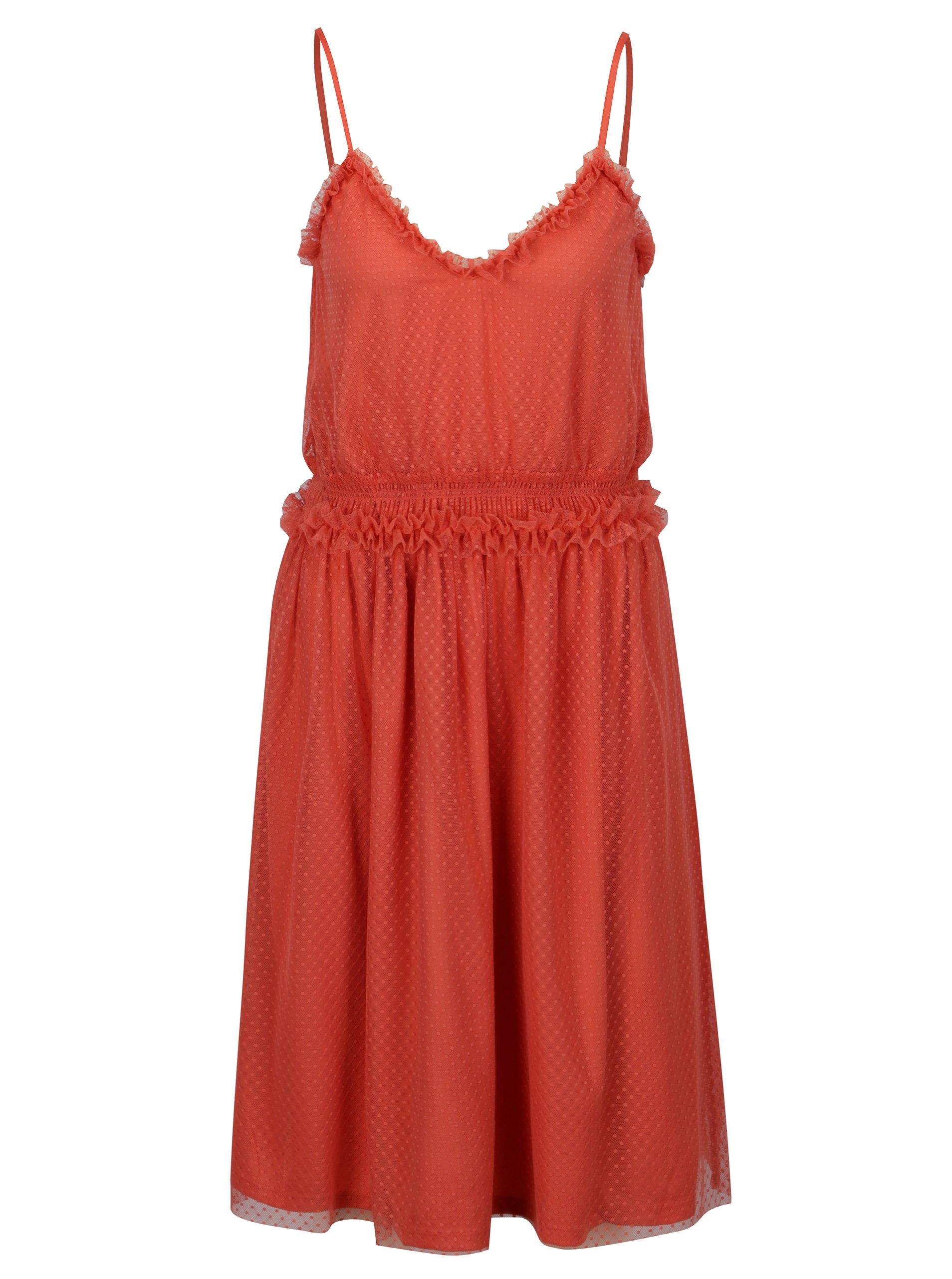 Korálové šaty na ramínka VILA Mindi