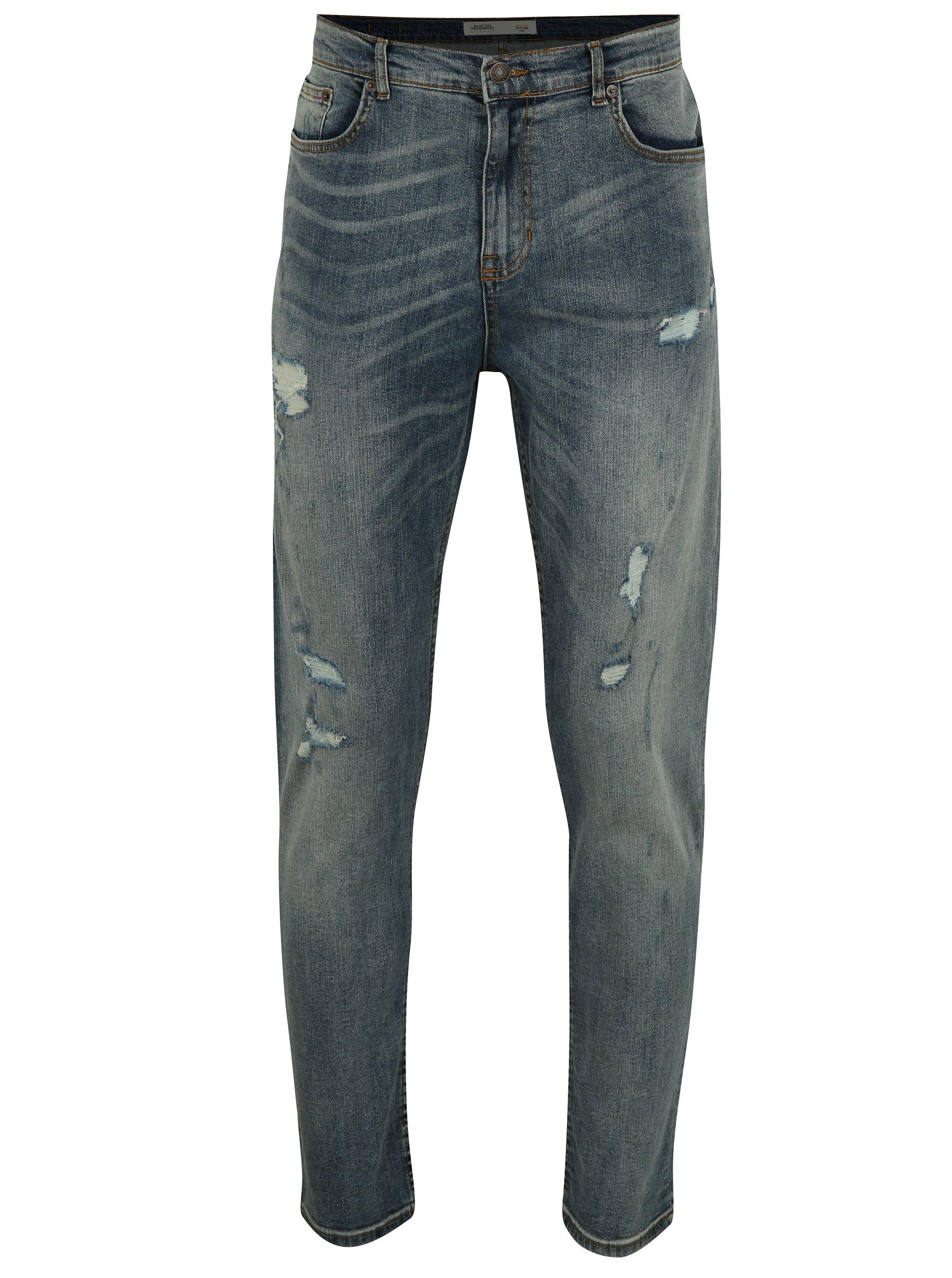 Modré slim fit džíny s potrhaným efektem Burton Menswear London