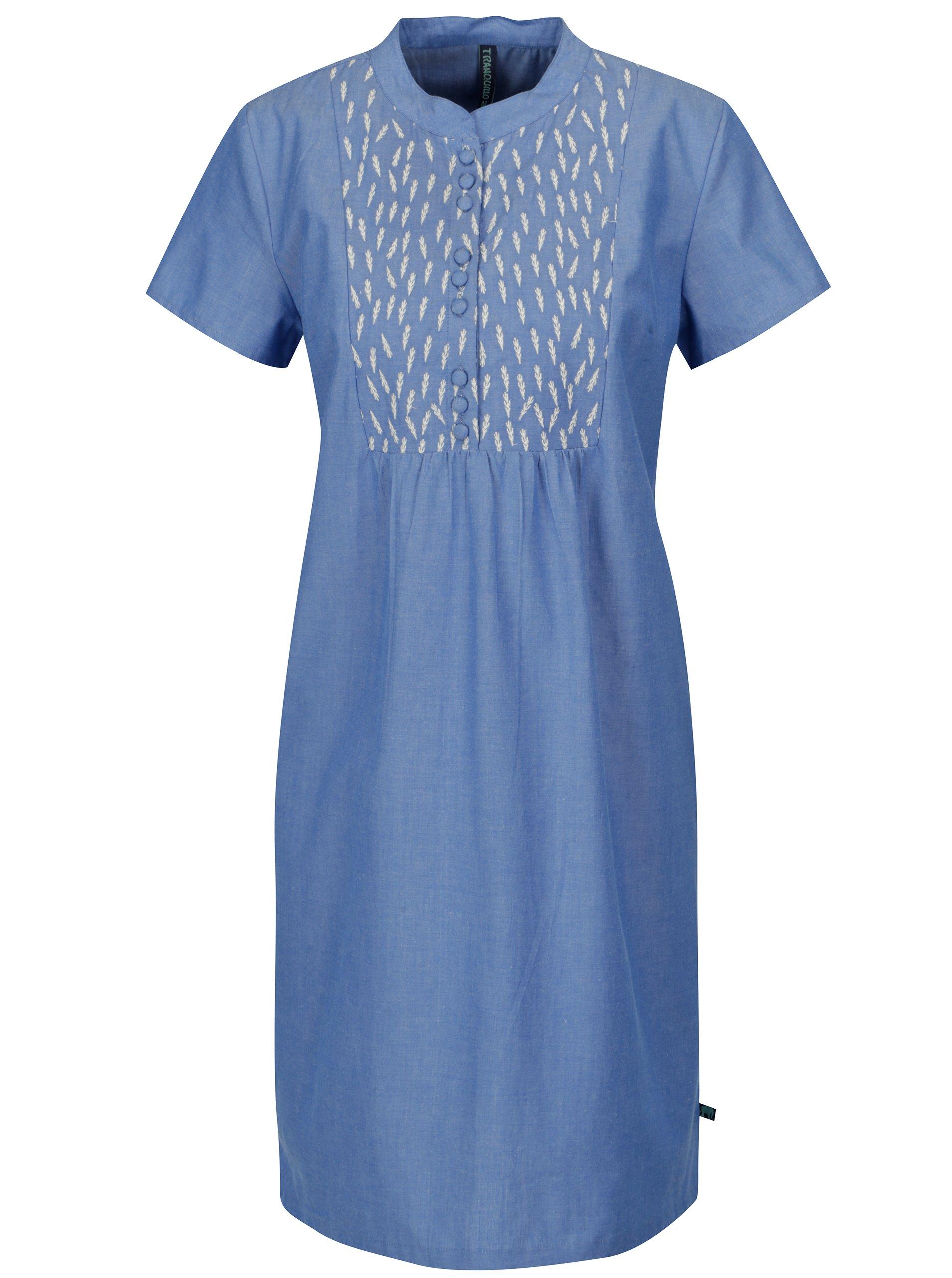 609f39582d Modré krátke šaty s výšivkou Tranquillo Areca