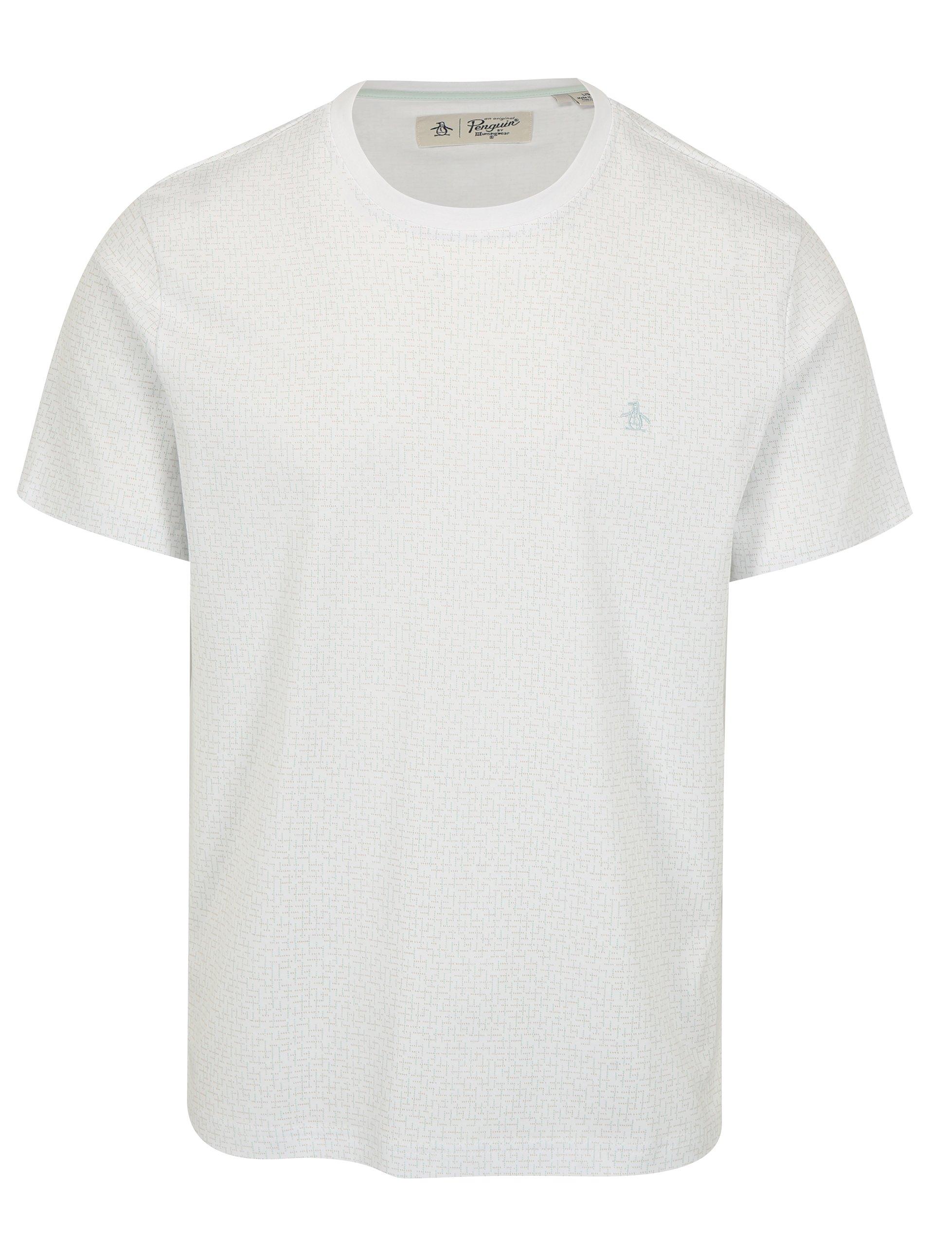 Biele vzorované tričko Original Penguin