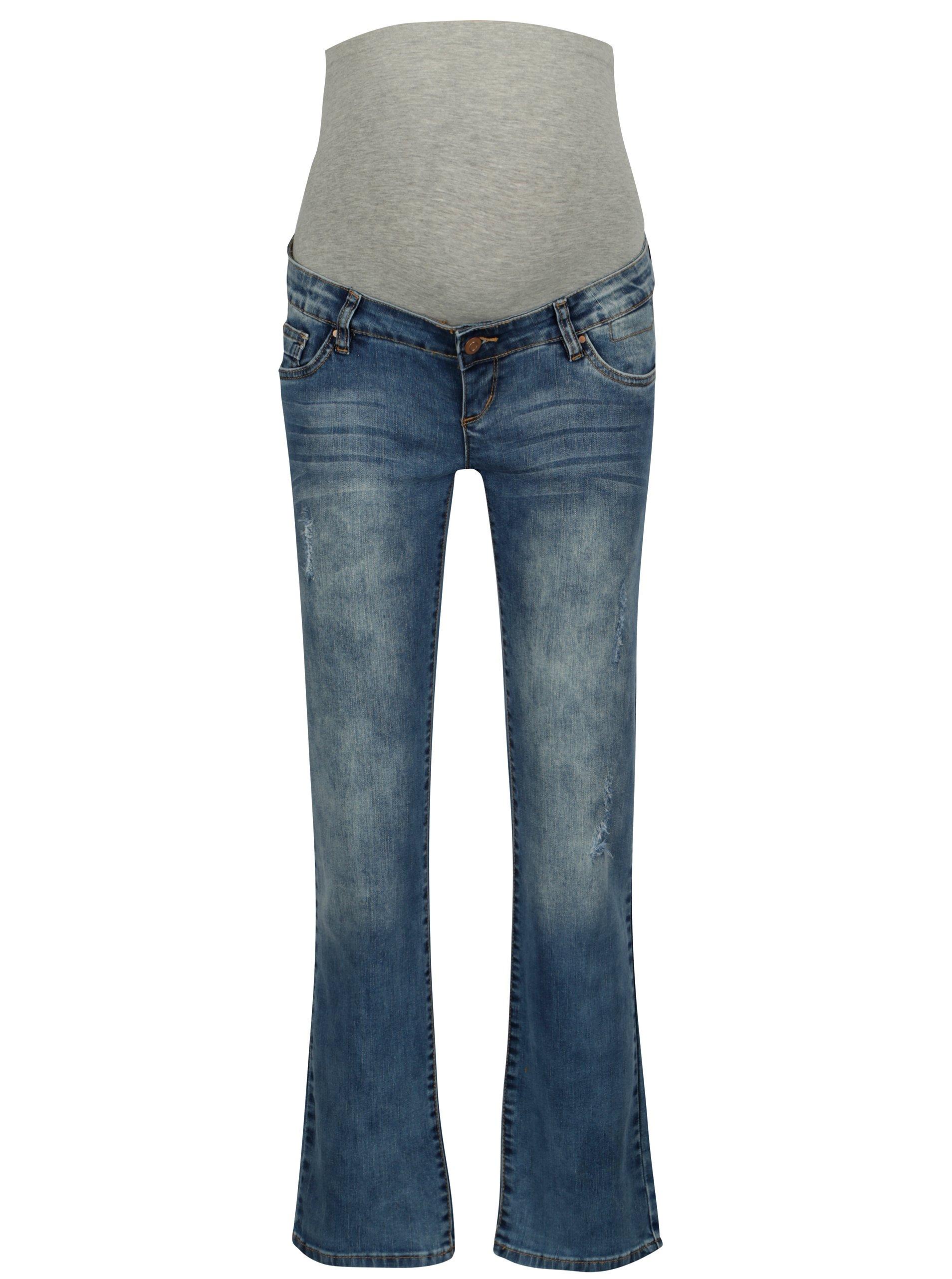 Modré těhotenské regular džíny s vyšisovaným efektem Mama.licious Boston