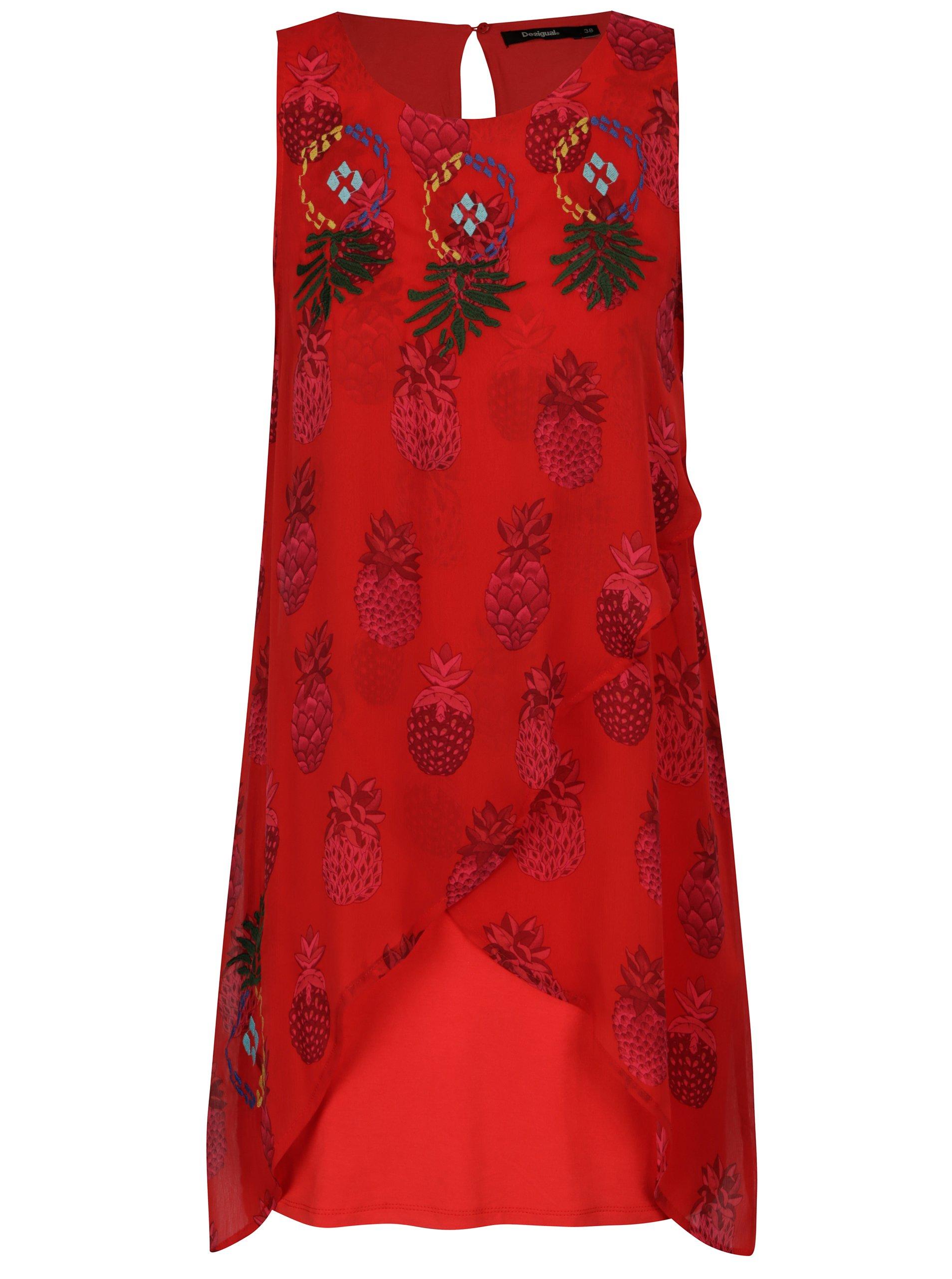 červené vzorovan šaty s výšivkou Desigual Katherina