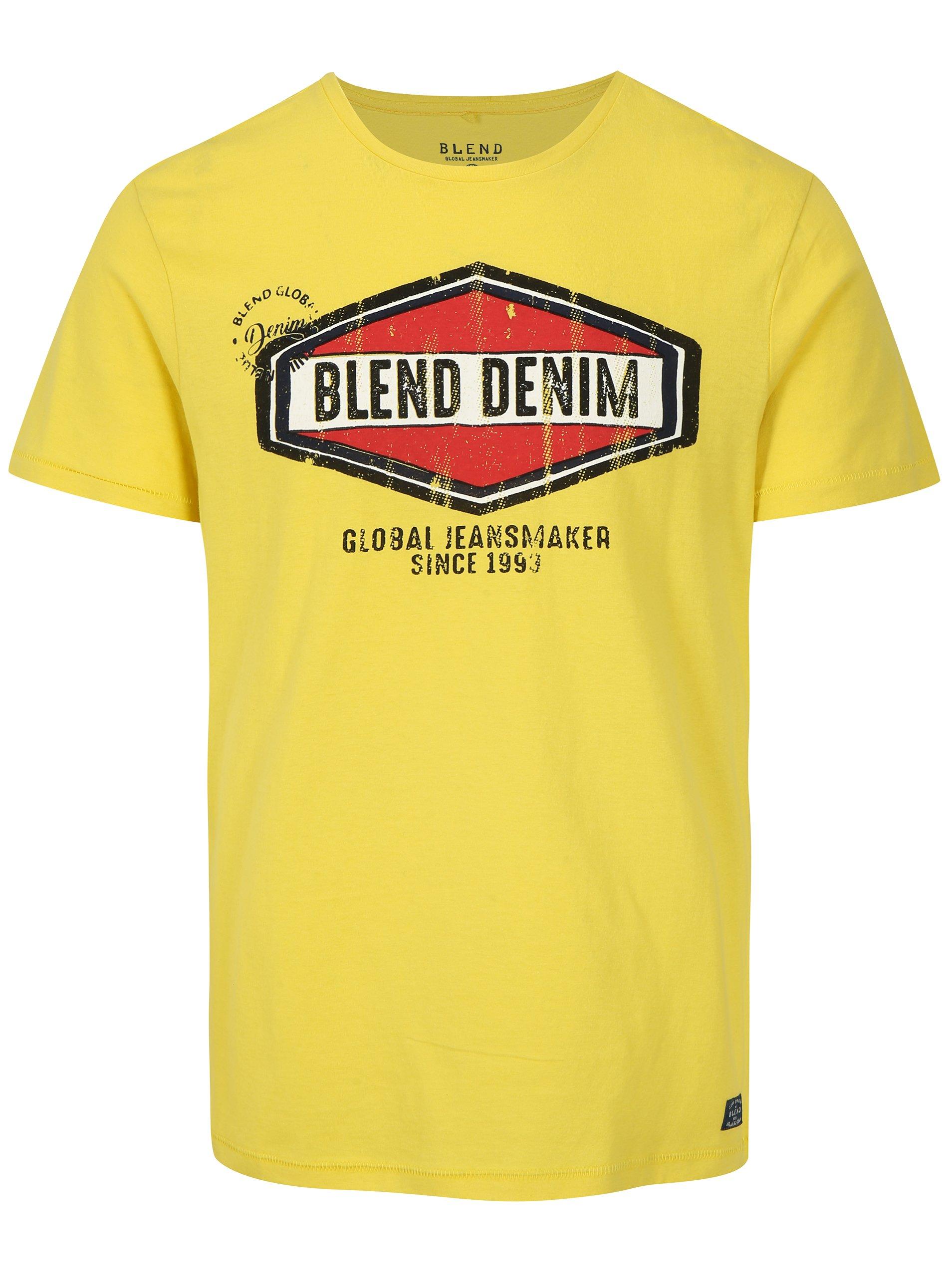 Žluté slim fit tričko s potiskem a krátkým rukávem Blend