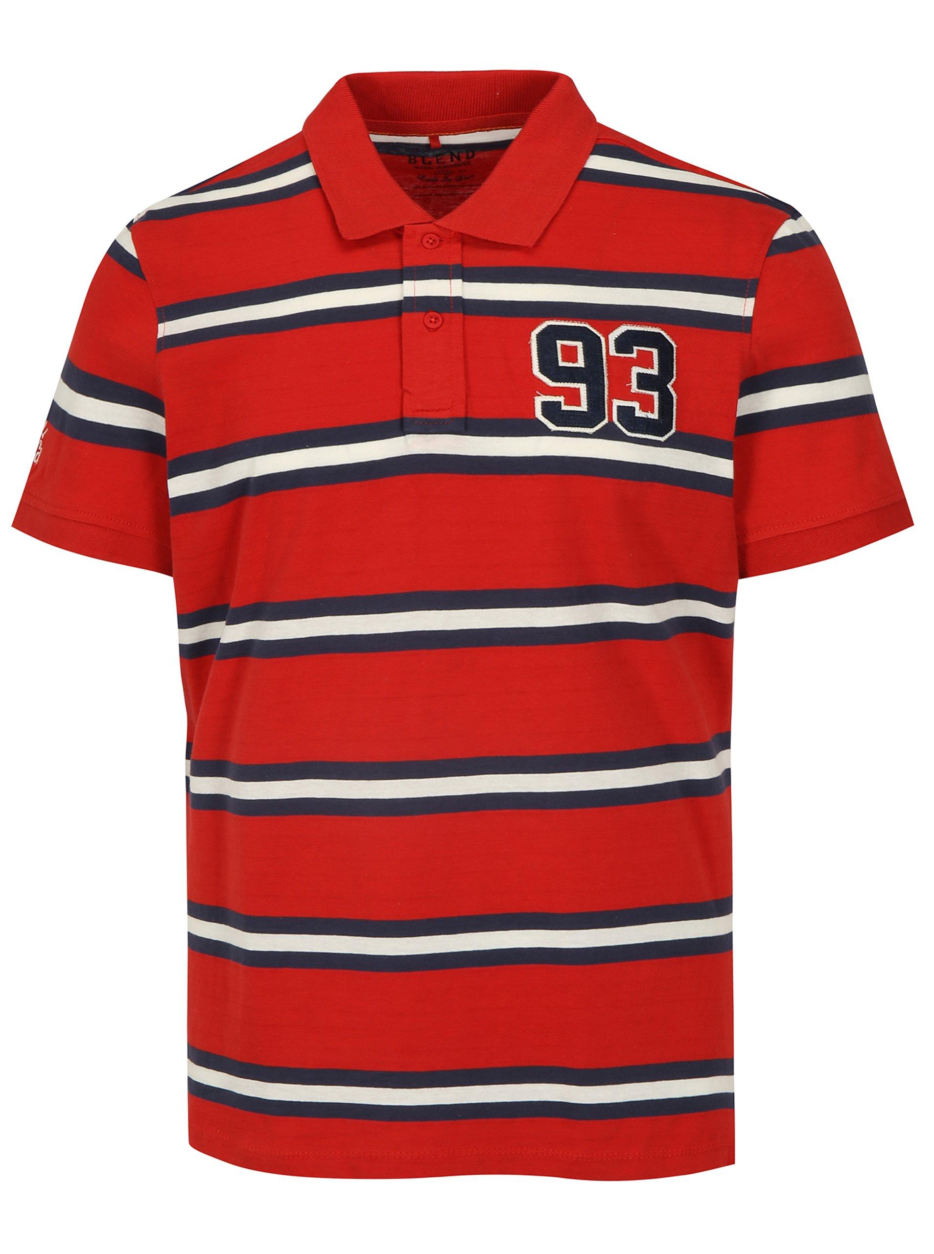 Modro-červené pruhované regular fit polo tričko Blend 972d28b0cf