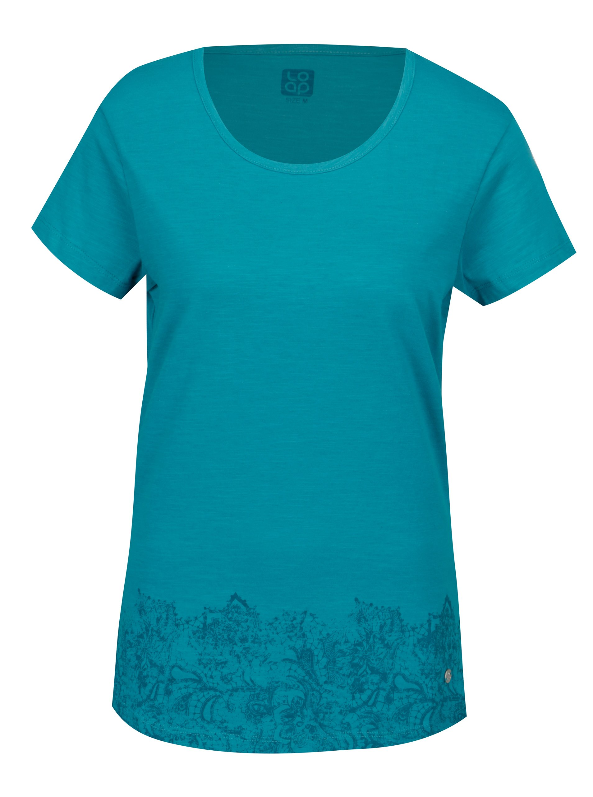 Fotografie Tyrkysové dámské tričko s kulatým výstřihem a potiskem LOAP Balisey