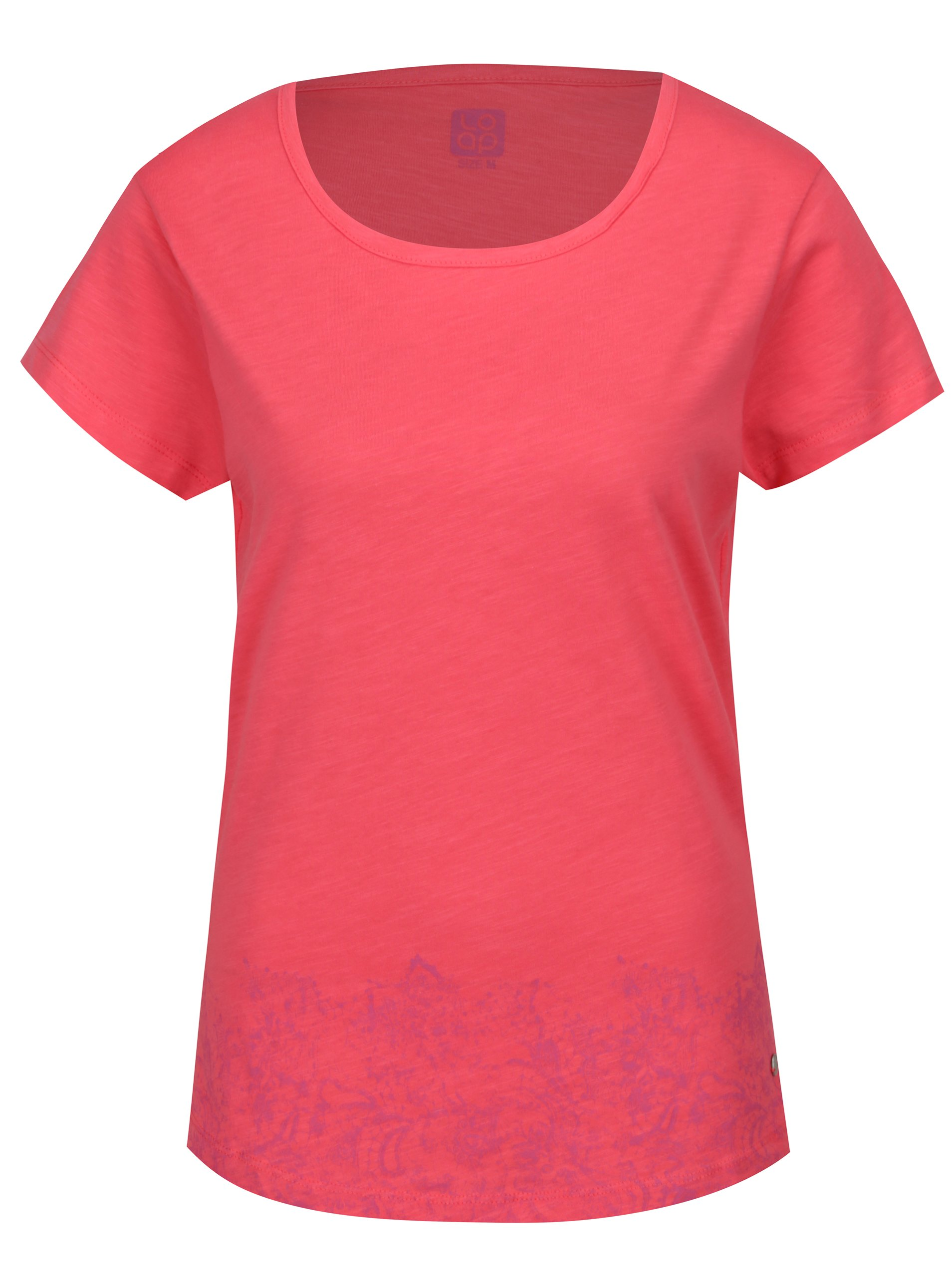 Fotografie Růžové dámské tričko s kulatým výstřihem a potiskem LOAP Balisey