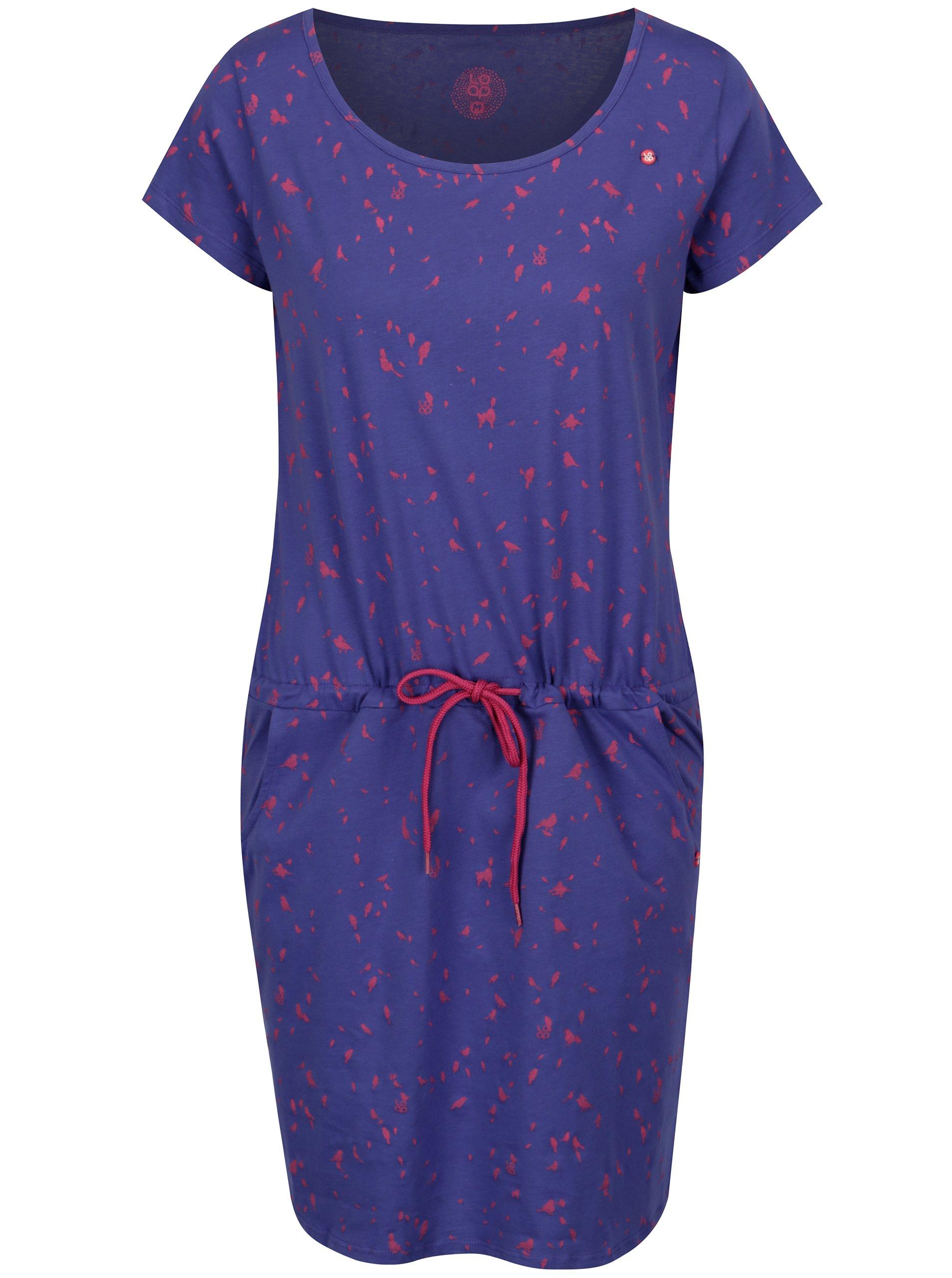 Tmavofialové šaty s krátkym rukávom a potlačou vtákov LOAP Amber