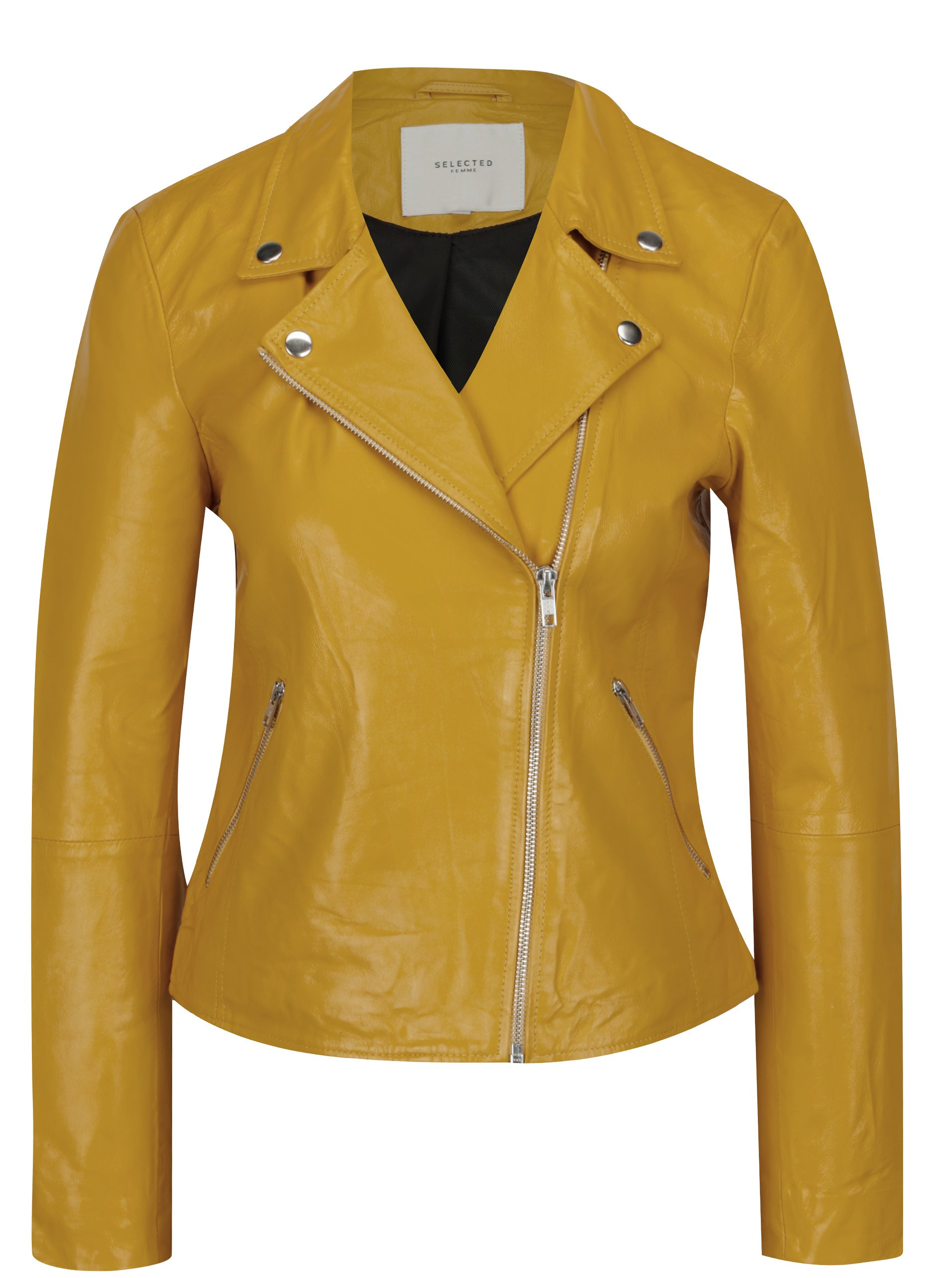 Žlutý kožený křivák Selected Femme Marlen