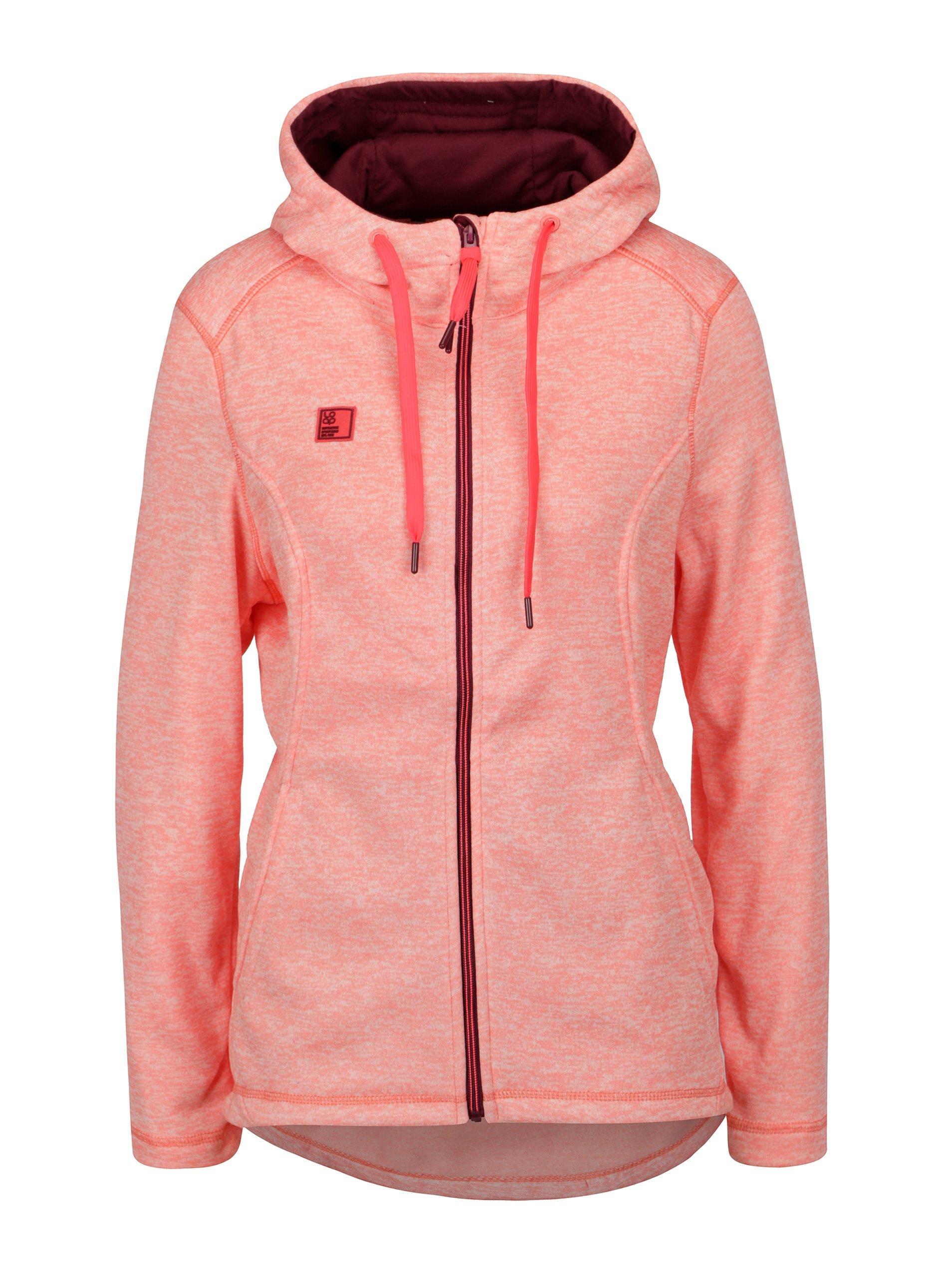 Neonově růžová dámská žíhaná mikina LOAP Gabry 82b2acd730