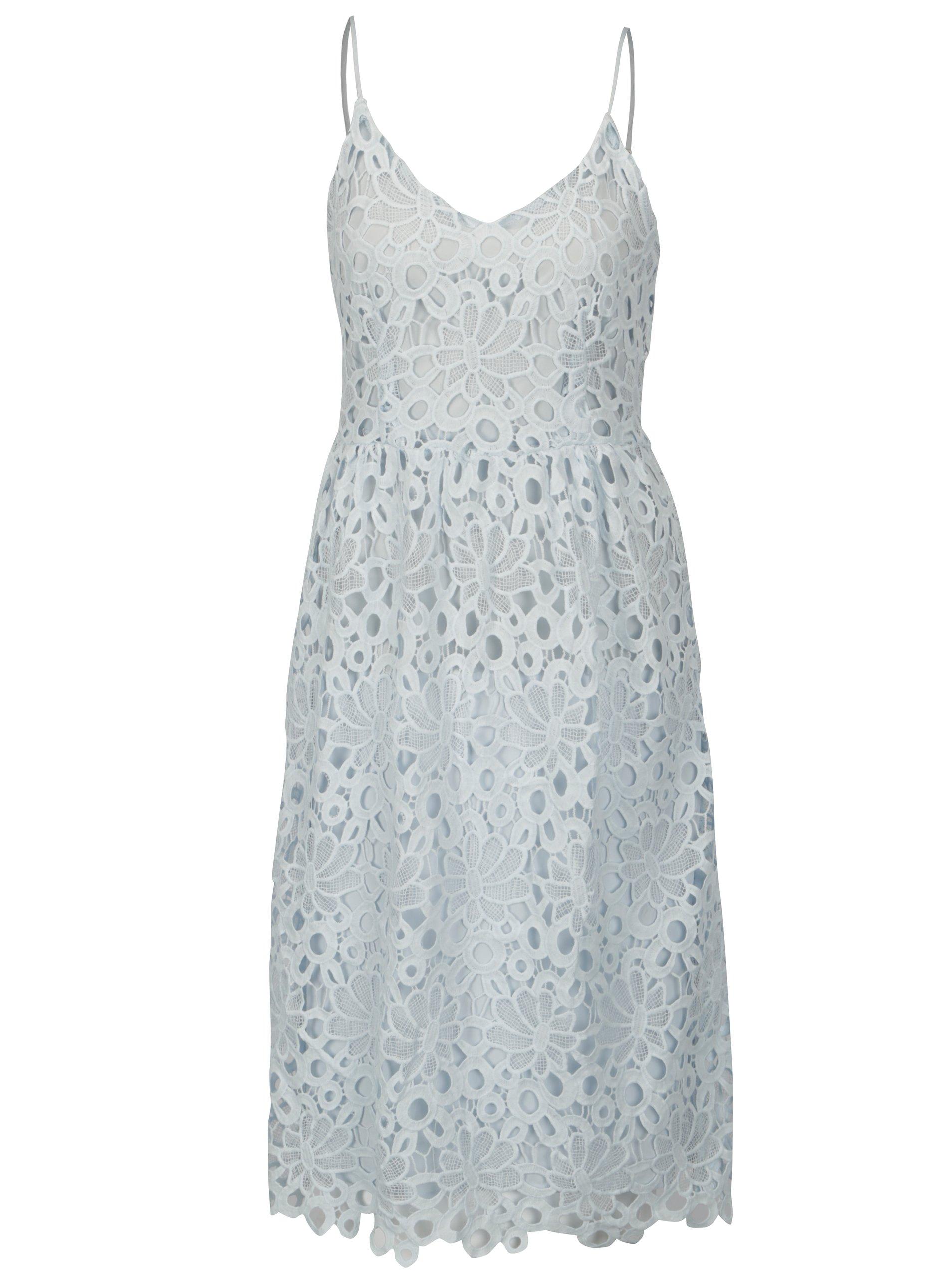 bf1edc0d371f Svetlomodré čipkované šaty na ramienka VILA Dalton
