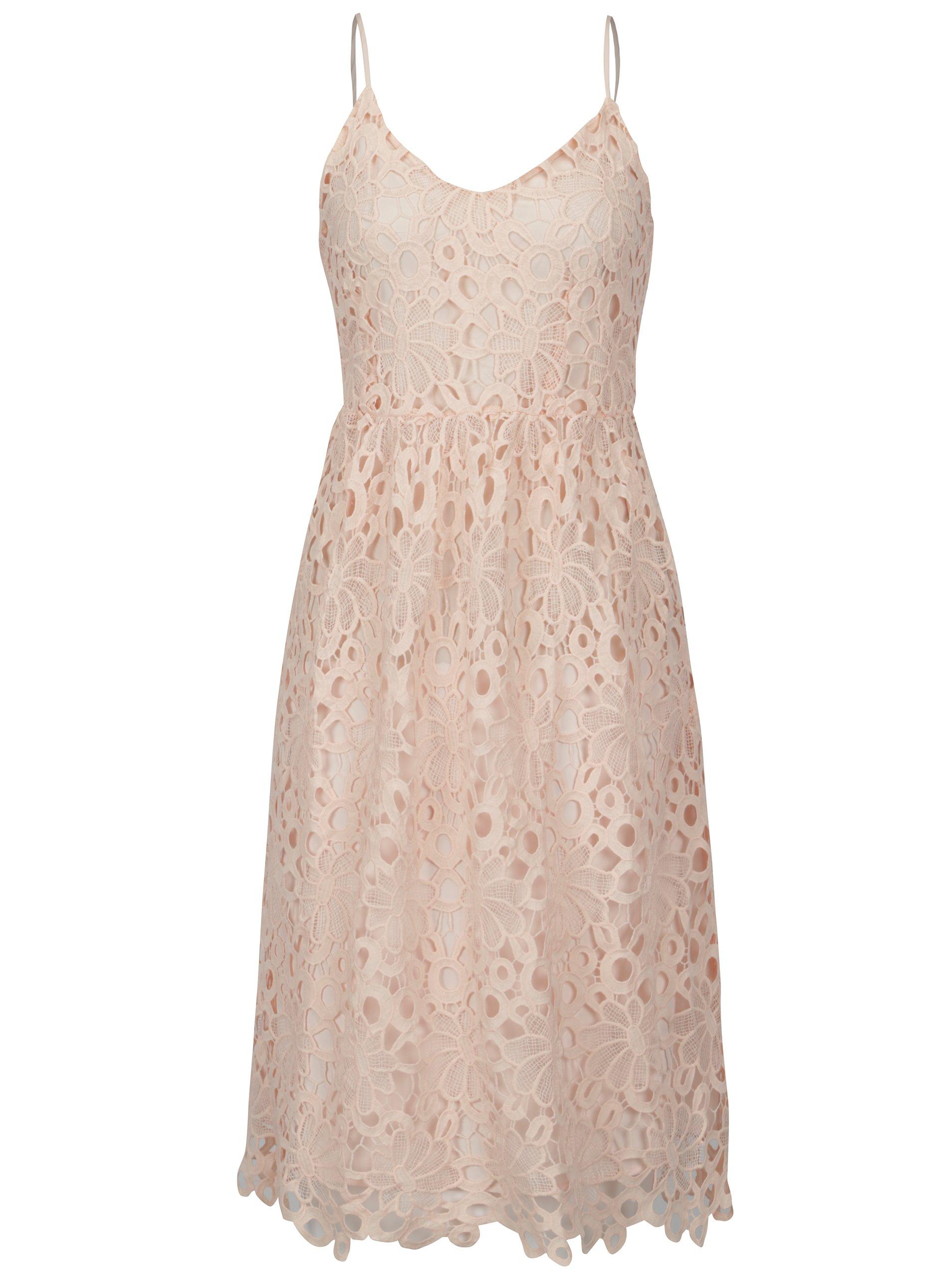 963a7a350e22 Svetloružové čipkované šaty na ramienka VILA Dalton