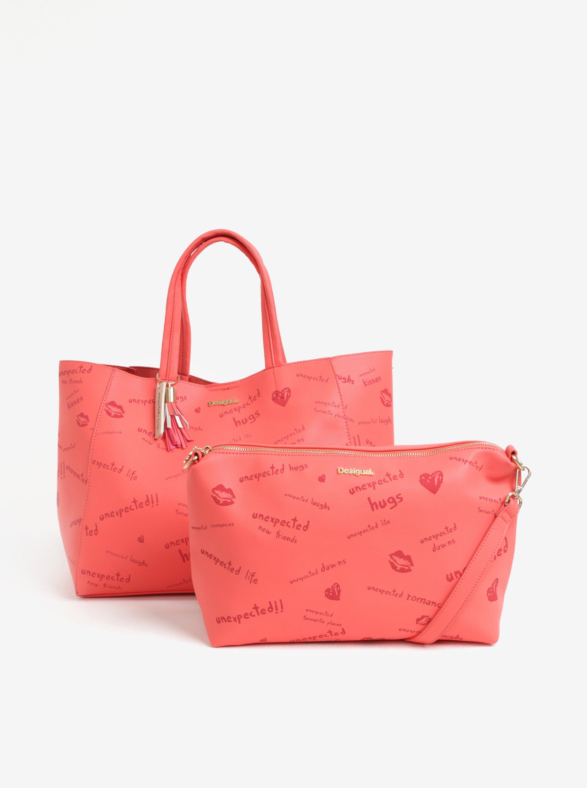 Červený vzorovaný shopper s puzdrom Desigual Tell me Cuenca