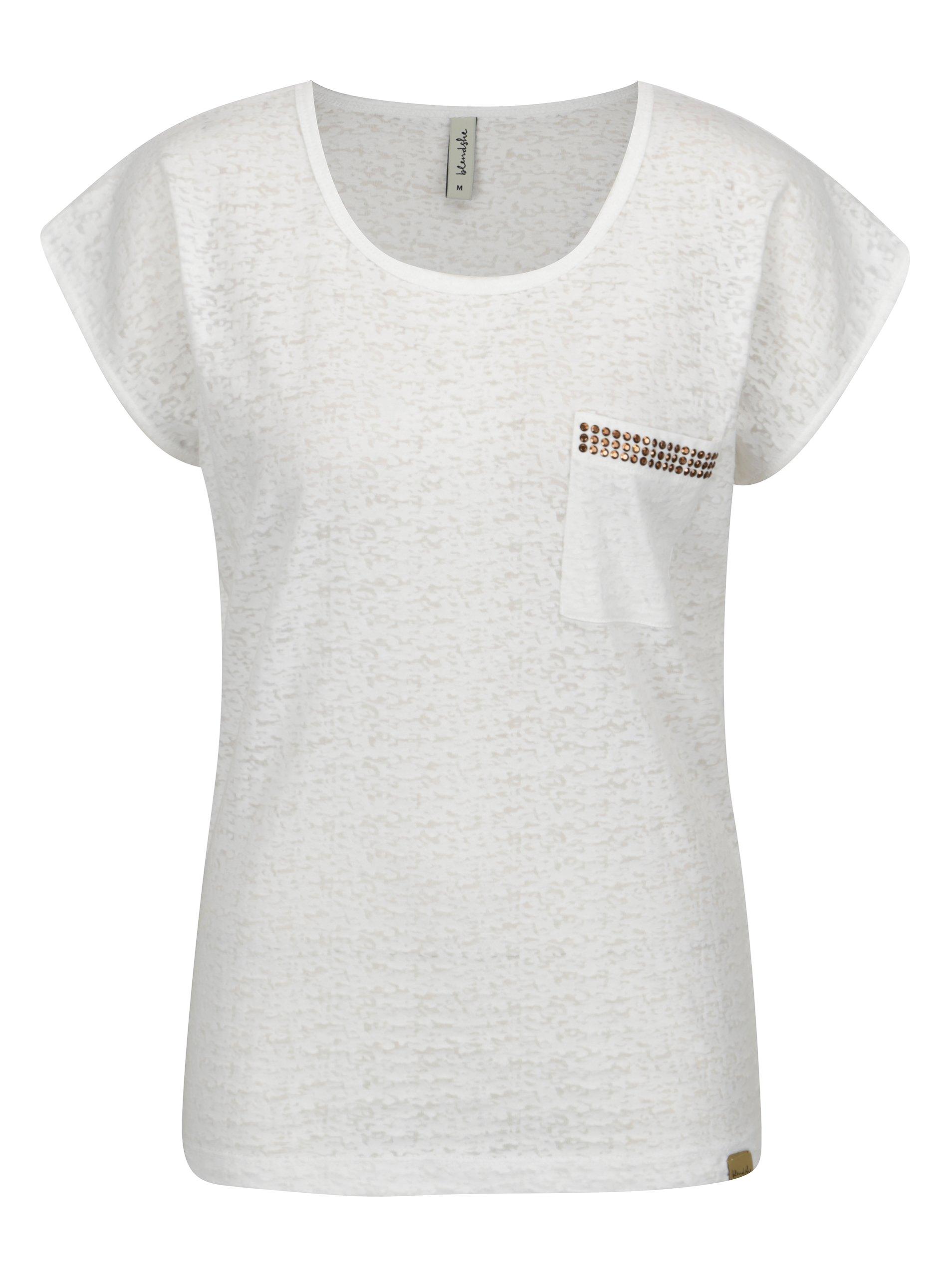 9405ae0ca80c Biele tričko s náprsným vreckom Blendshe Known