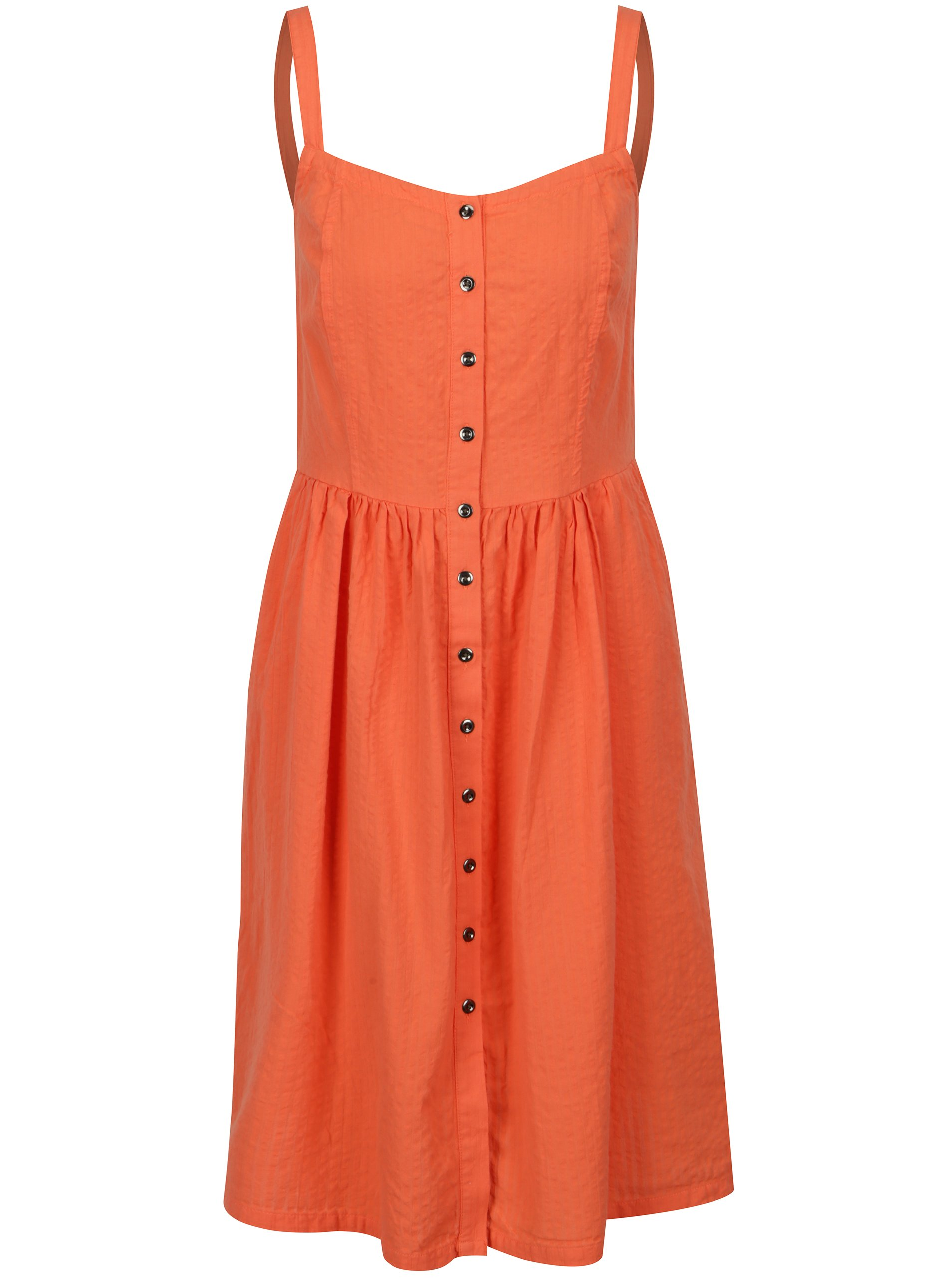 Oranžové šaty s knoflíky na ramínka Blendshe Sersa