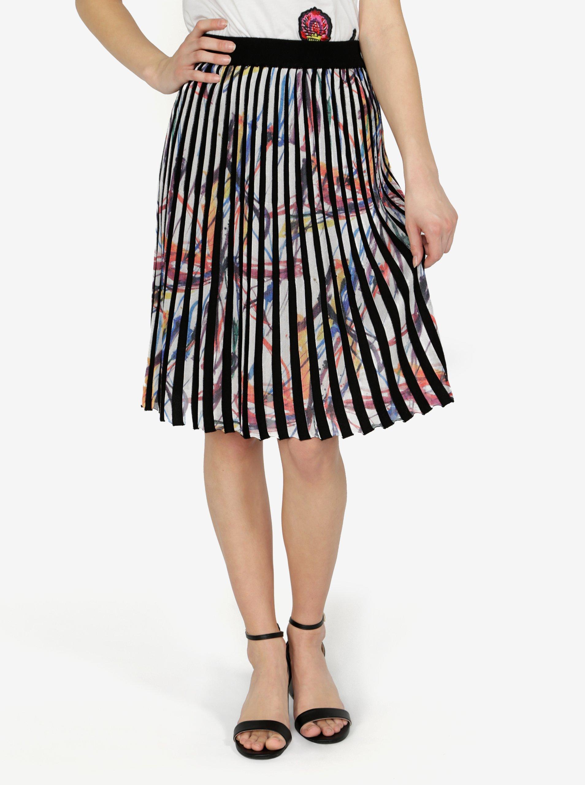 ace6689e563e Krémovo-černá vzorovaná plisovaná sukně Desigual Lady Liberty ŽENY   Sukně    Polodlouhé