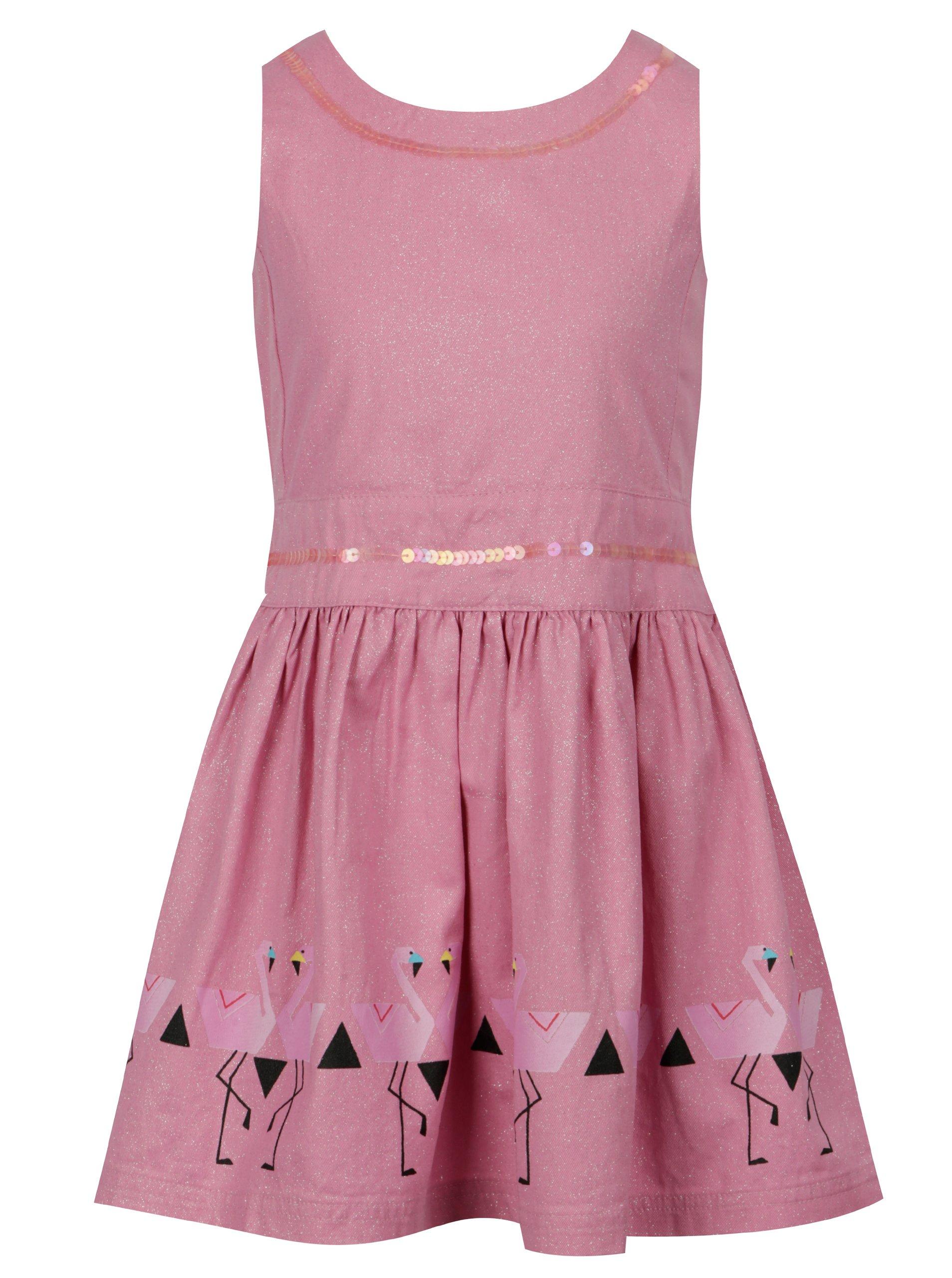 Ružové dievčenské trblietavé šaty tuc tuc Twill