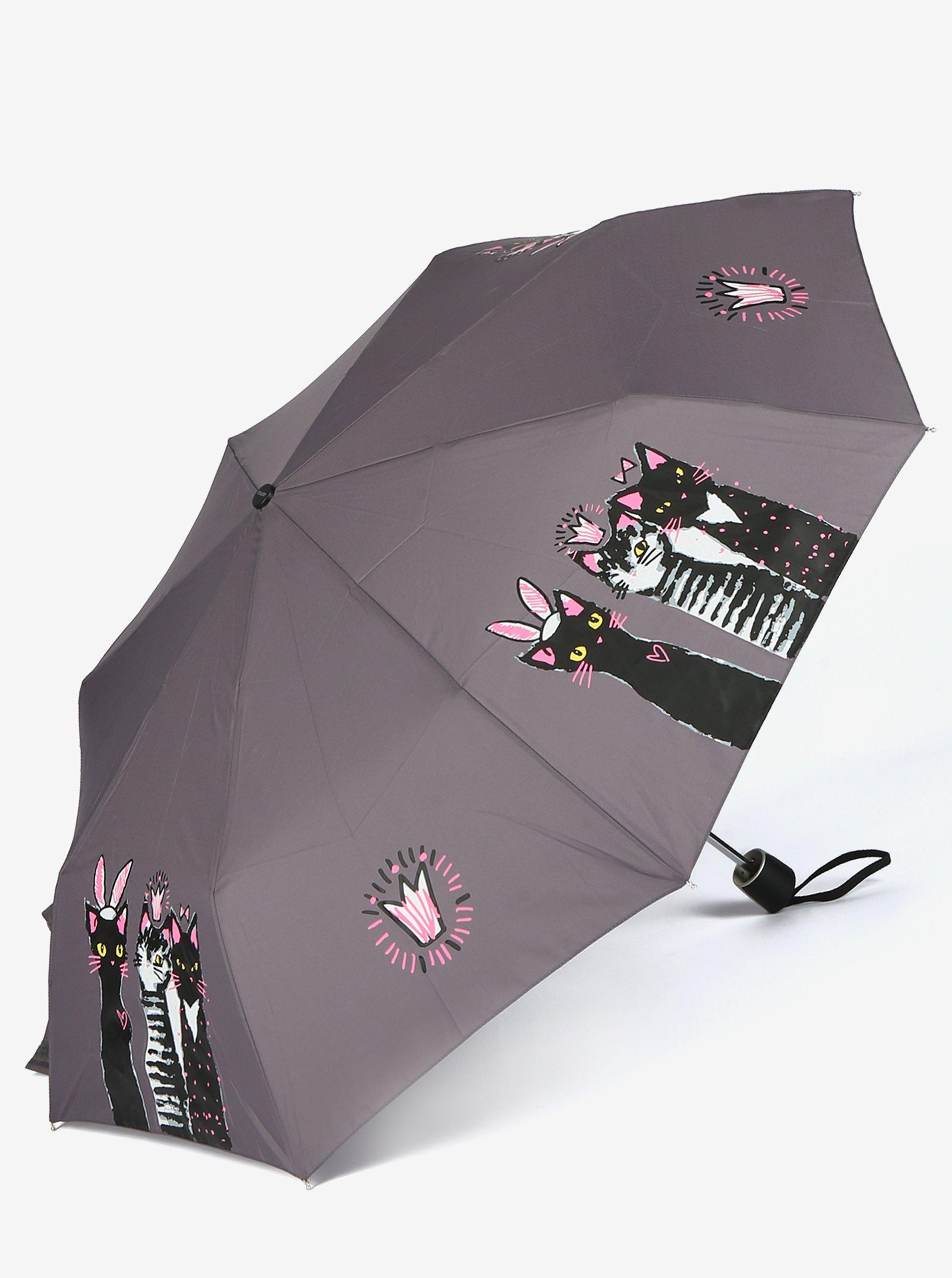 Šedý dámský skládací deštník s potiskem Doppler