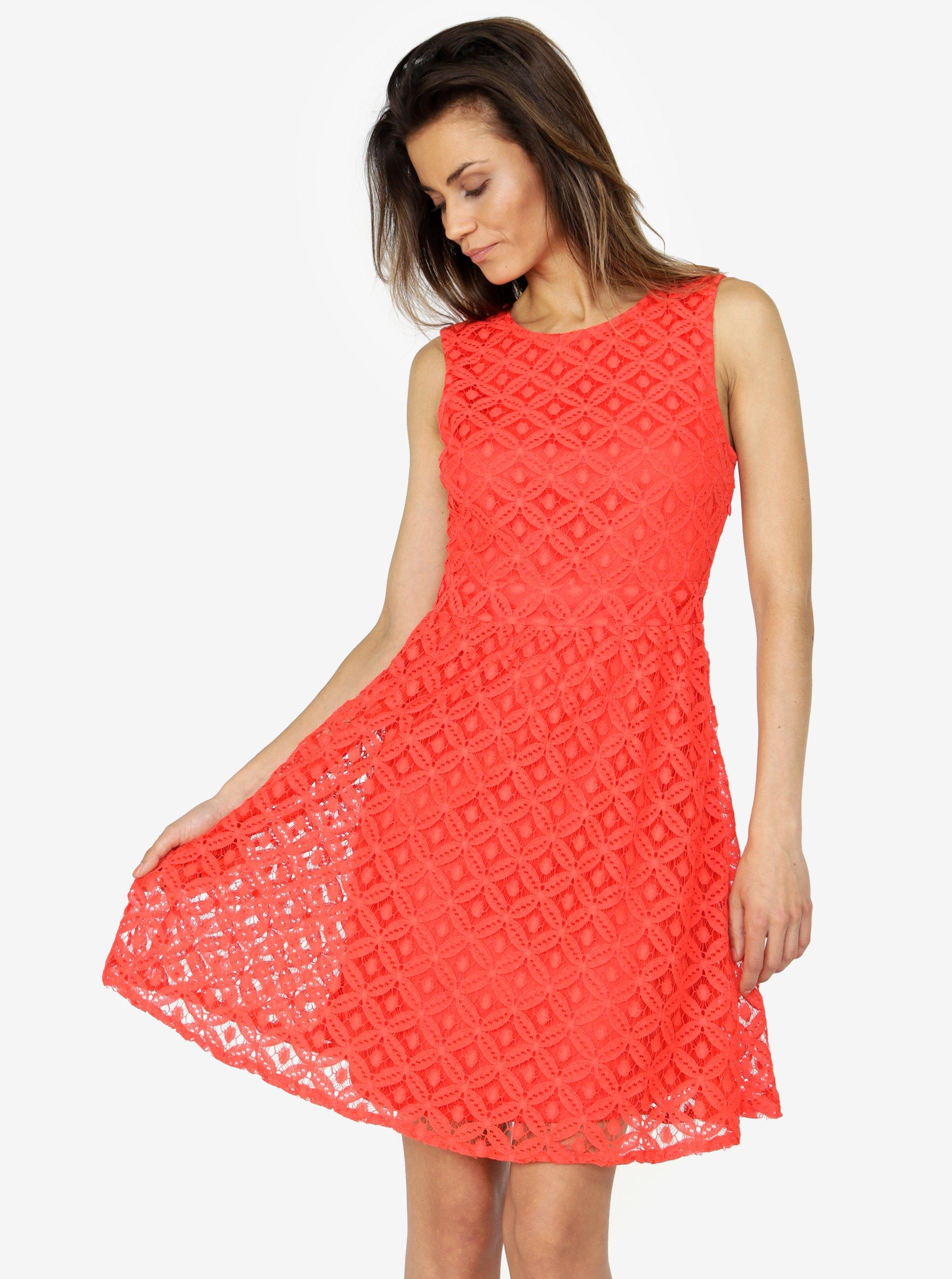Červené čipkované šaty VERO MODA Simone 47cb9ef39d4
