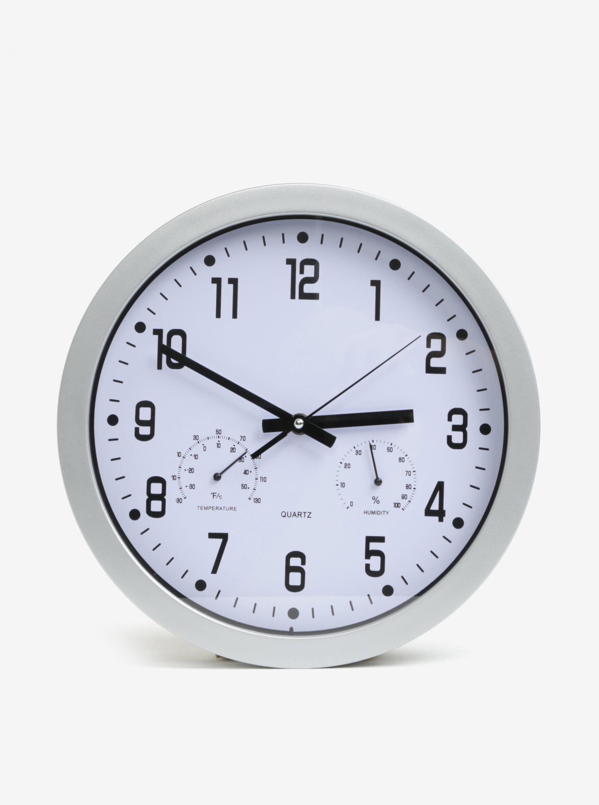 Fotografie Kulaté nástěnné hodiny ve stříbrné barvě Kaemingk