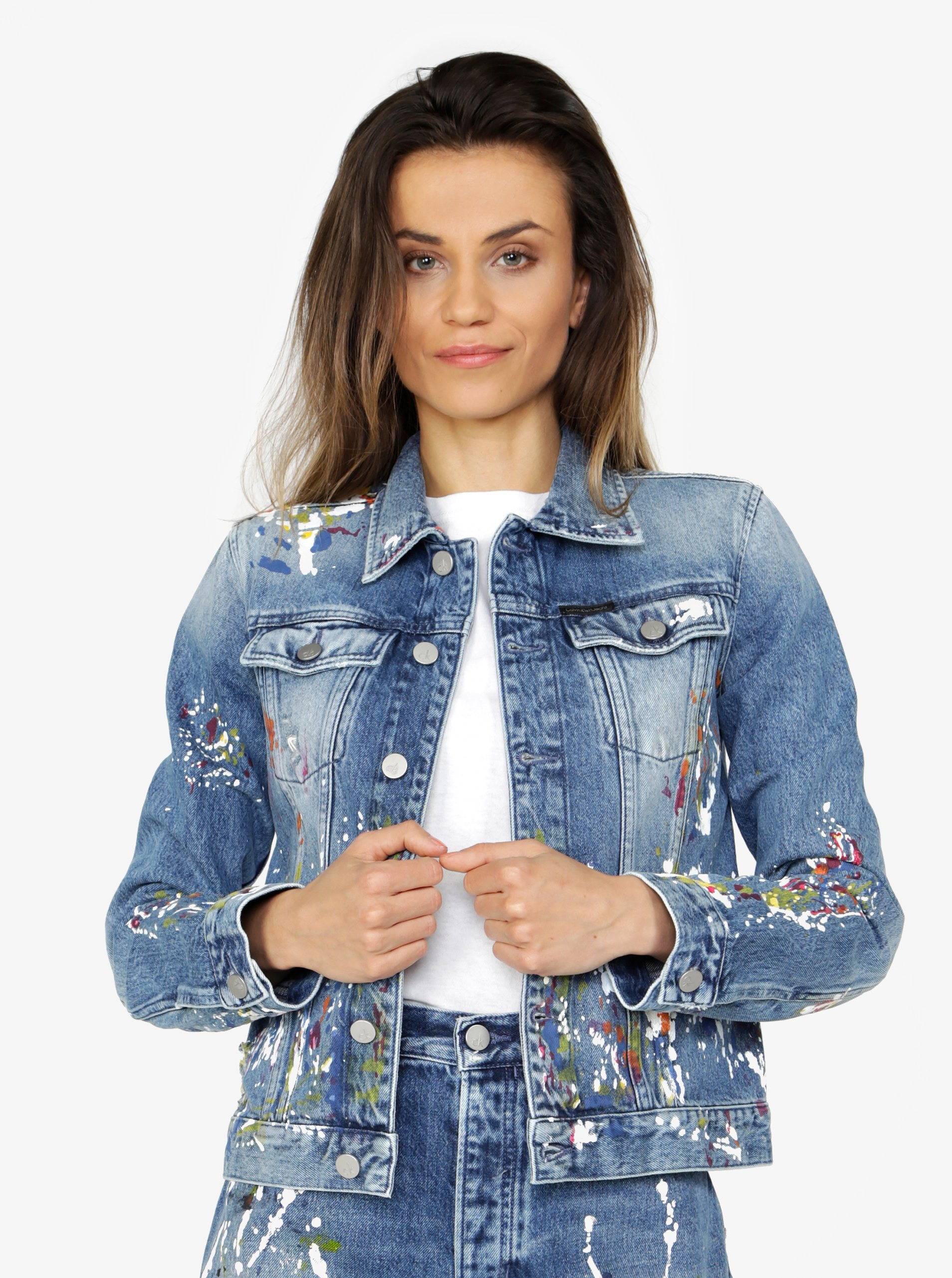 Modrá dámska rifľová bunda s potlačou Calvin Klein Jeans