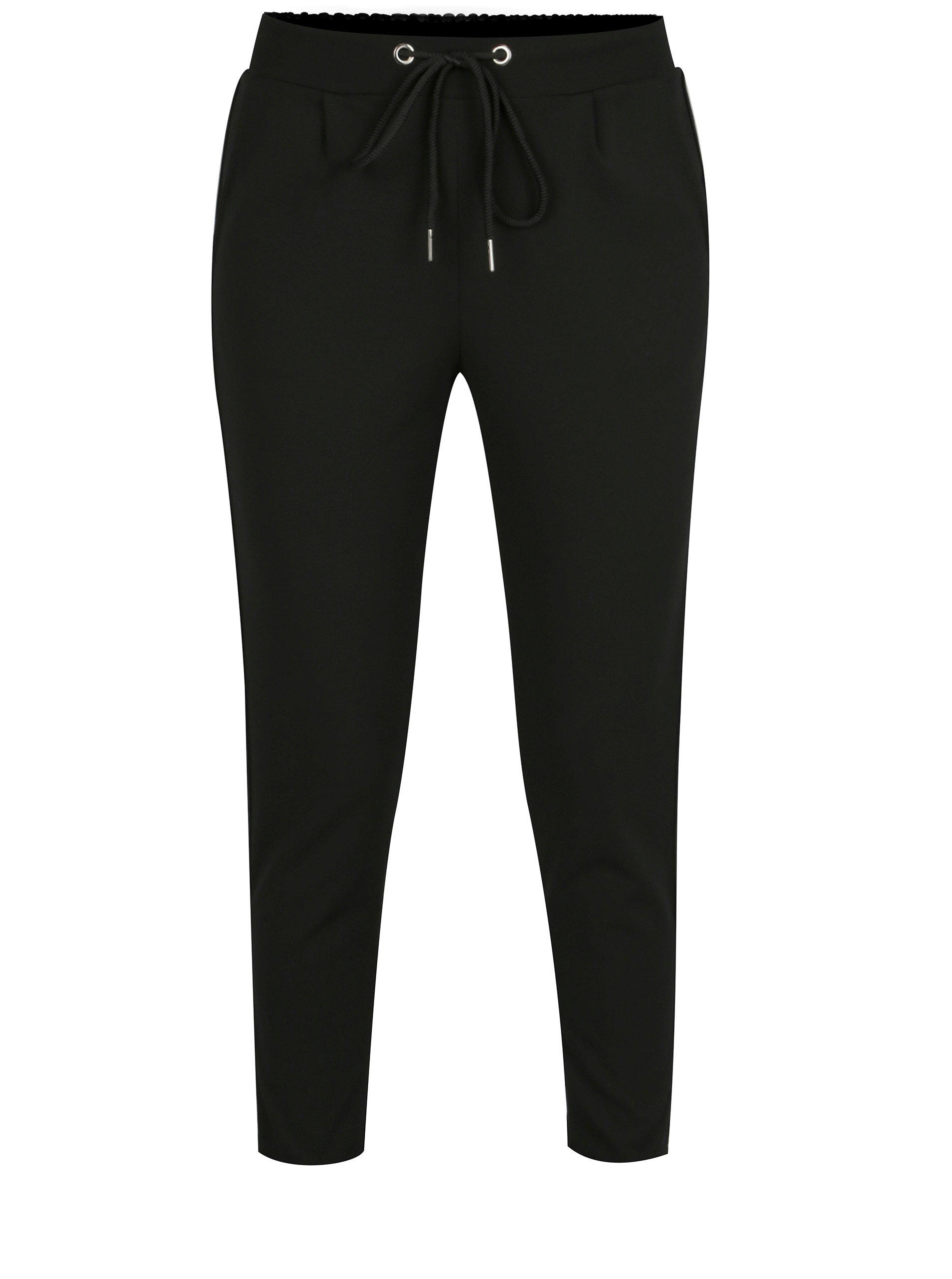 Černé zkrácené kalhoty s pruhy na stranách a vysokým sedem Haily´s Greta