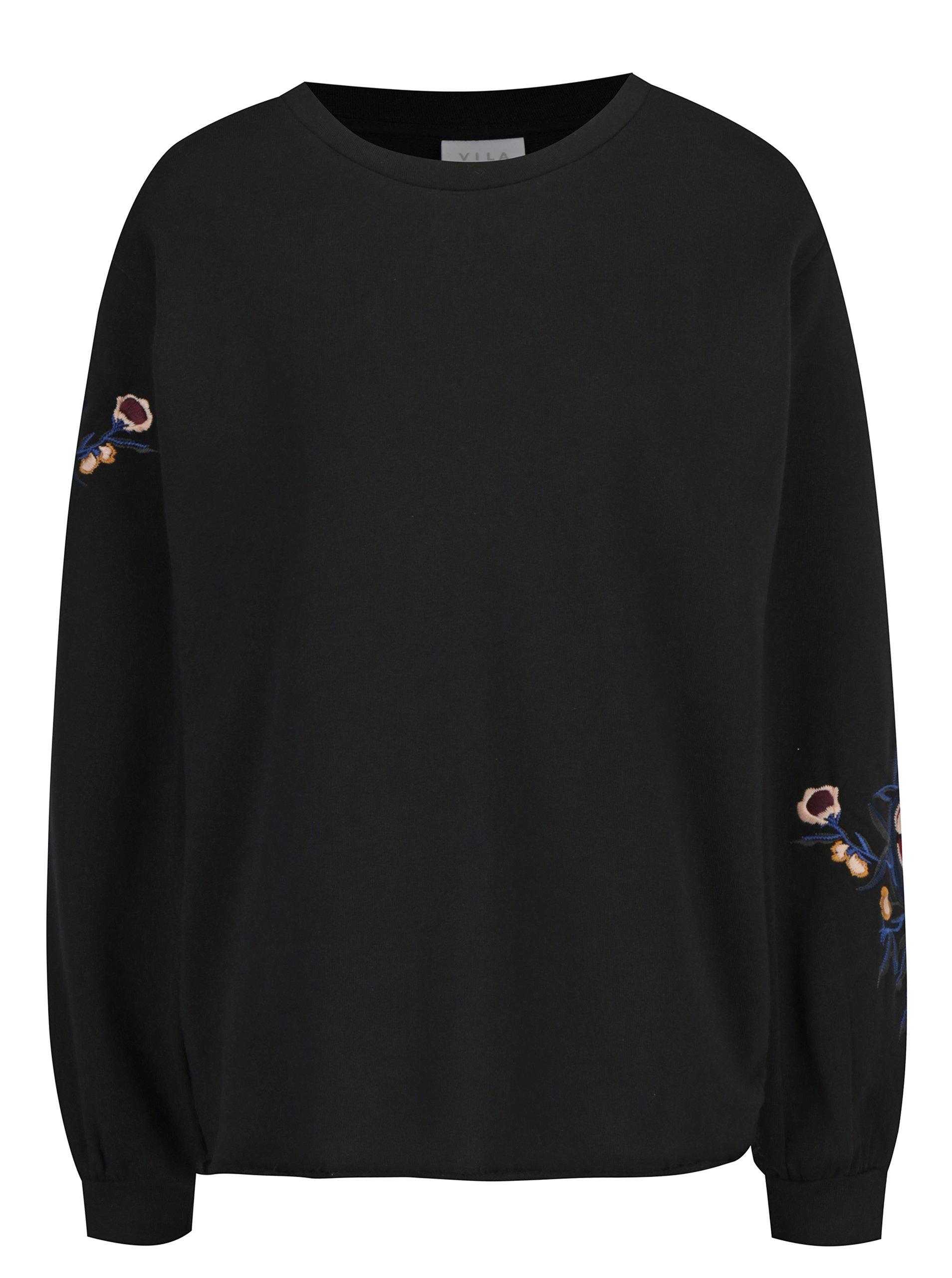 Čierna voľná mikina s výšivkami kvetov VILA Smira