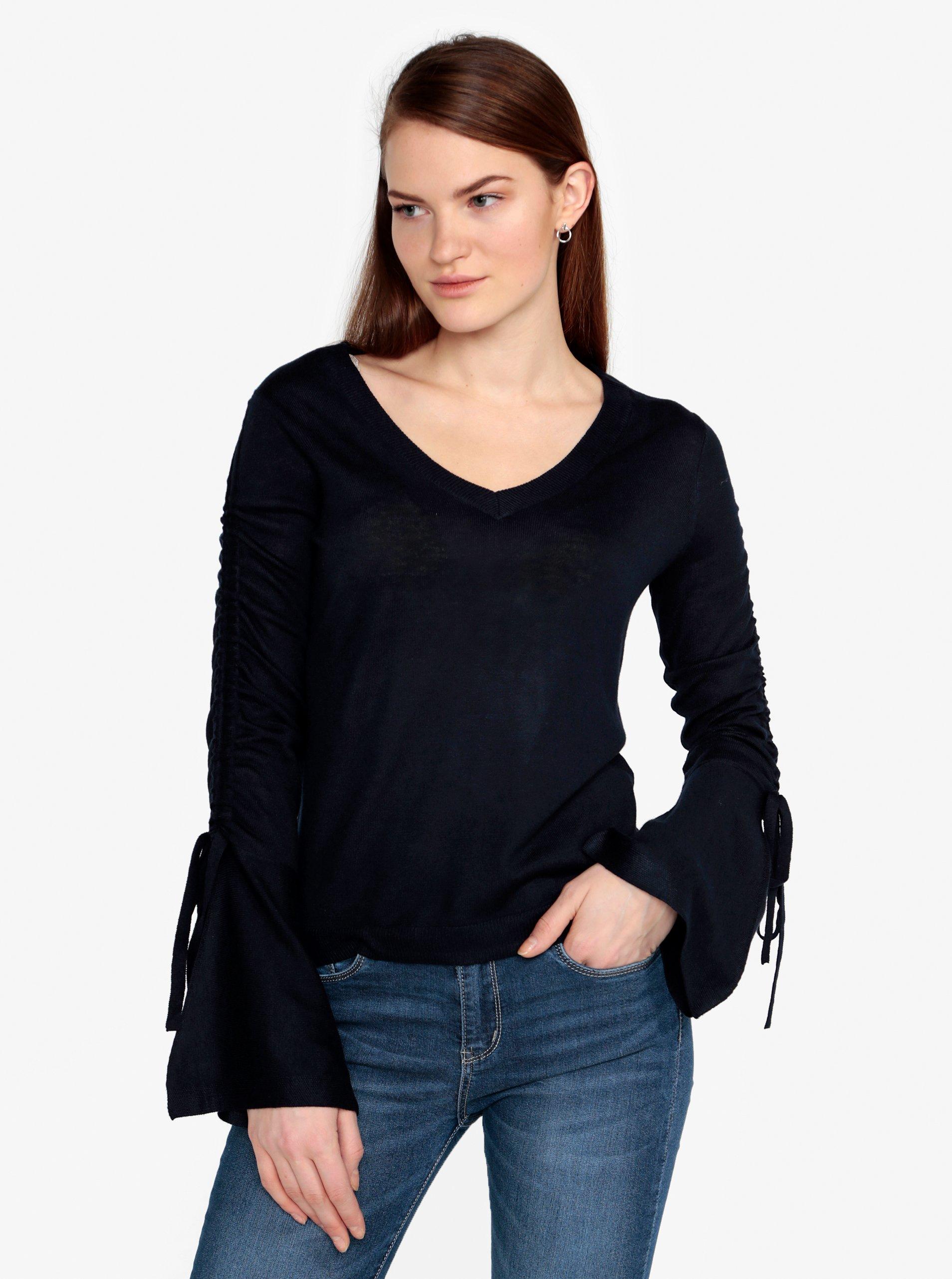 Fotografie Tmavě modrý lehký svetr s řasením na rukávech VERO MODA Adriana