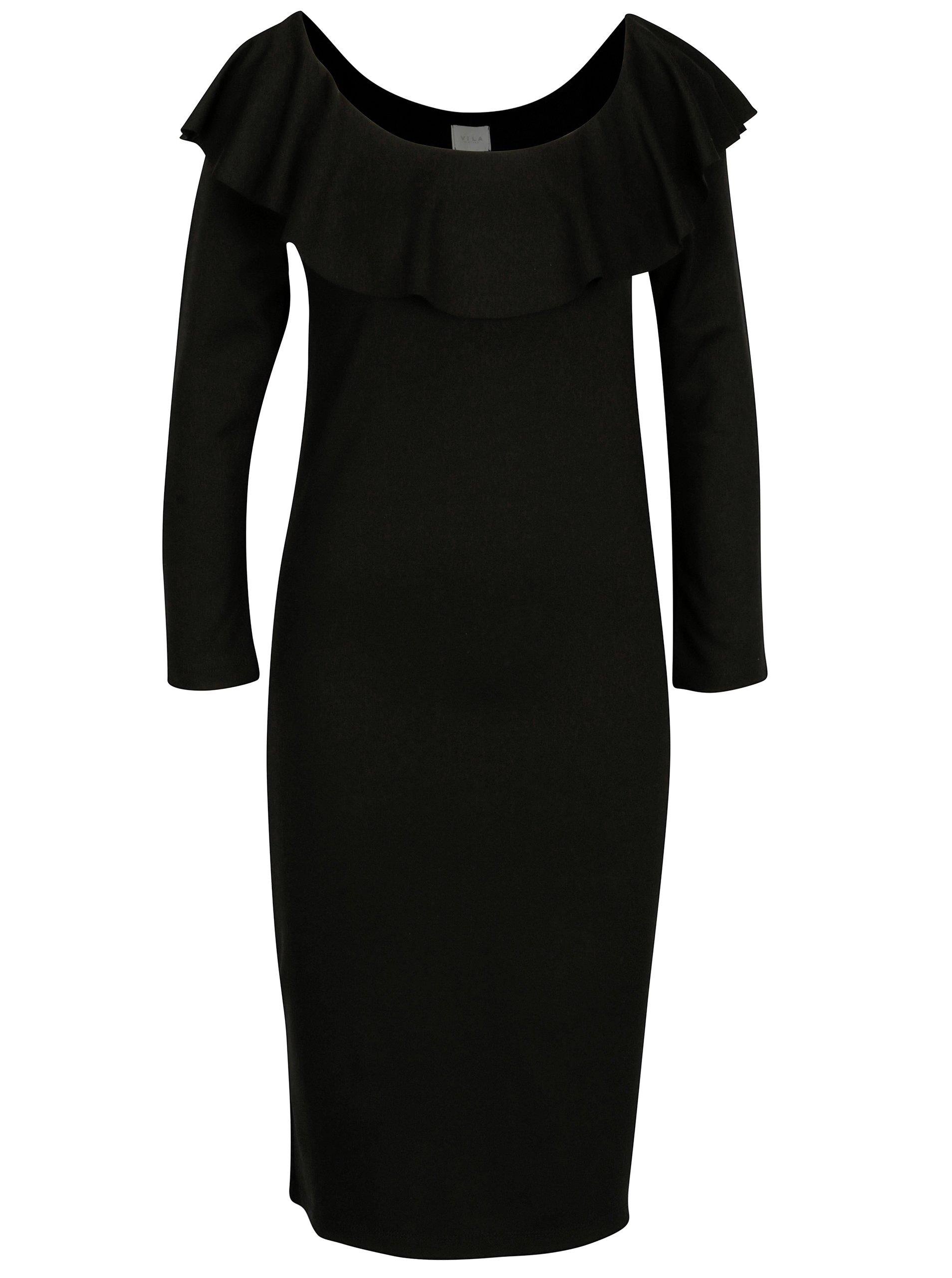 Černé šaty se lodičkovým výstřihem VILA Nalan